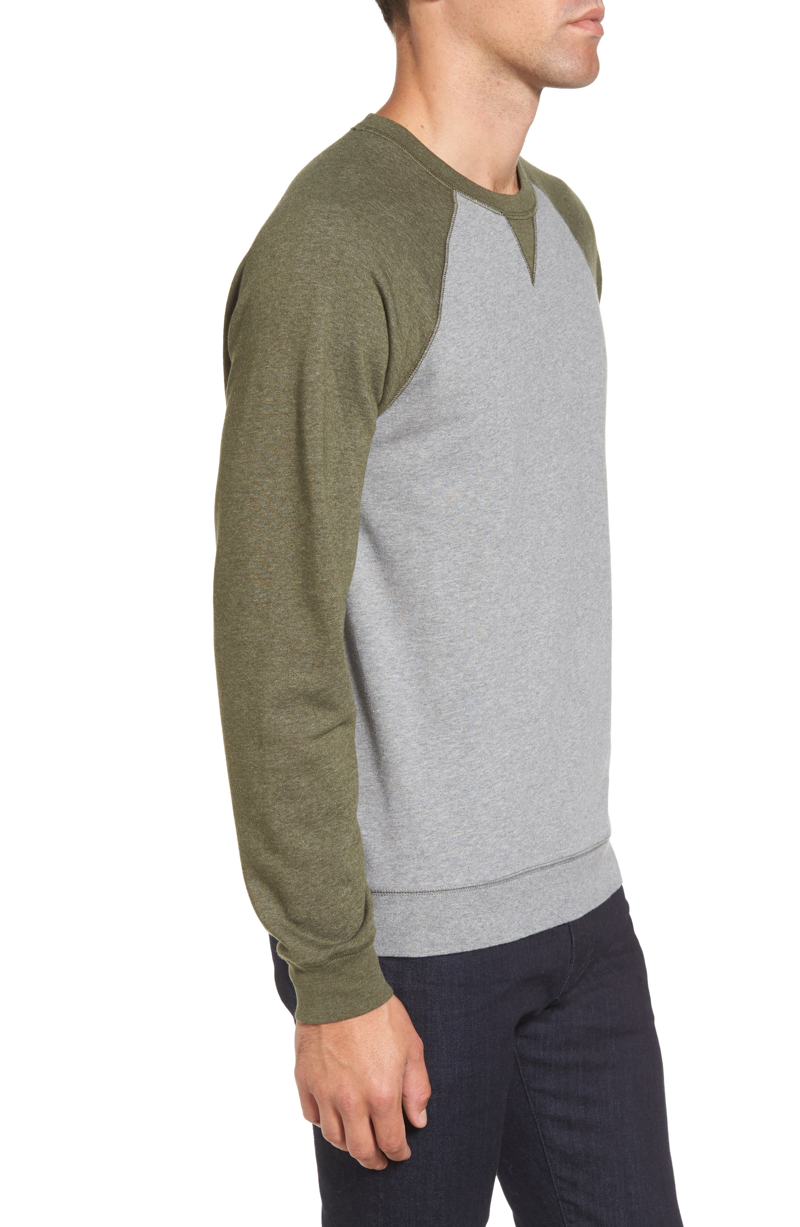 Colorblock French Terry Sweatshirt,                             Alternate thumbnail 3, color,                             Med Grey Army Heather