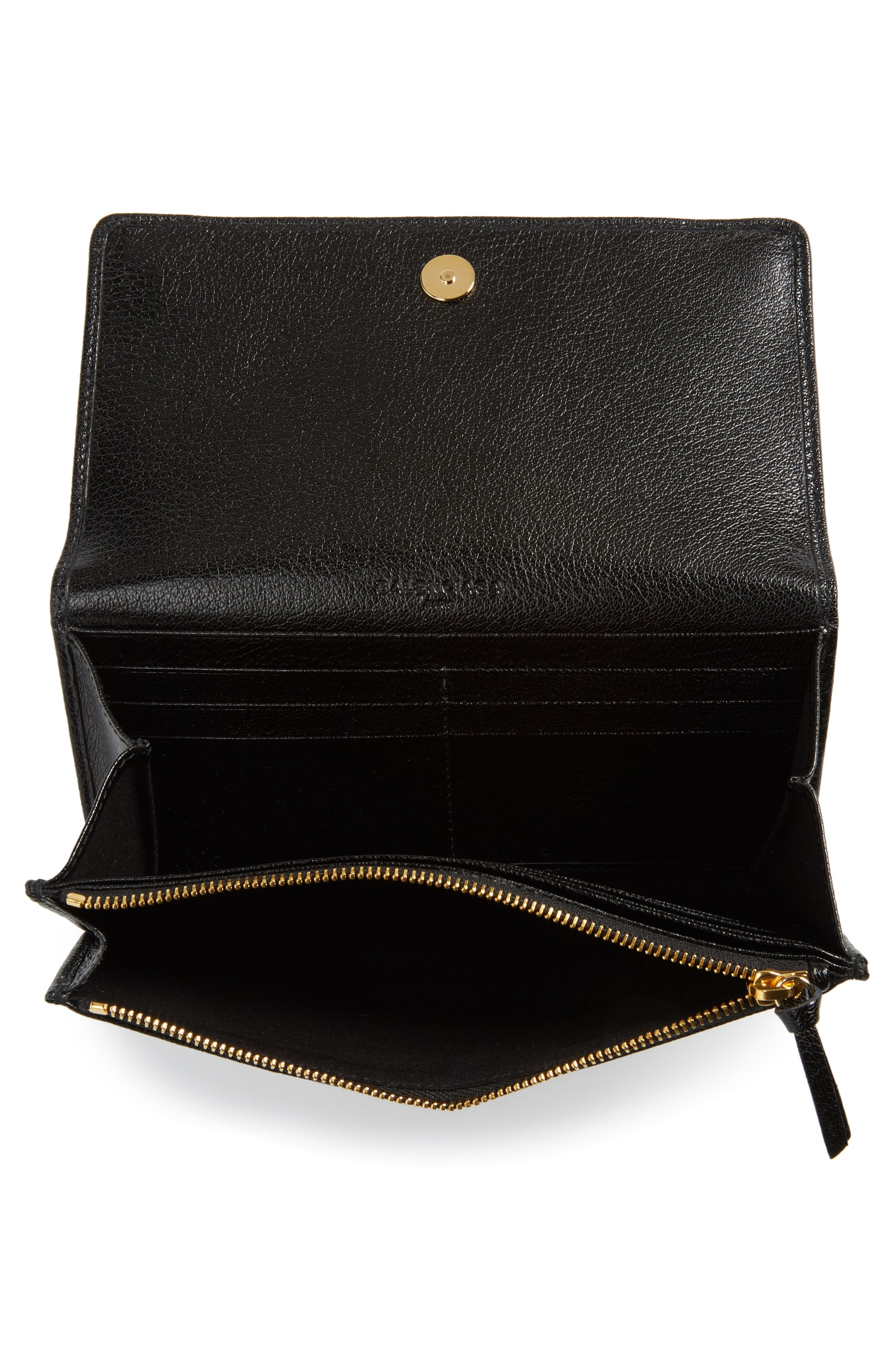 Metallic Edge Leather Wallet,                             Alternate thumbnail 2, color,                             Noir