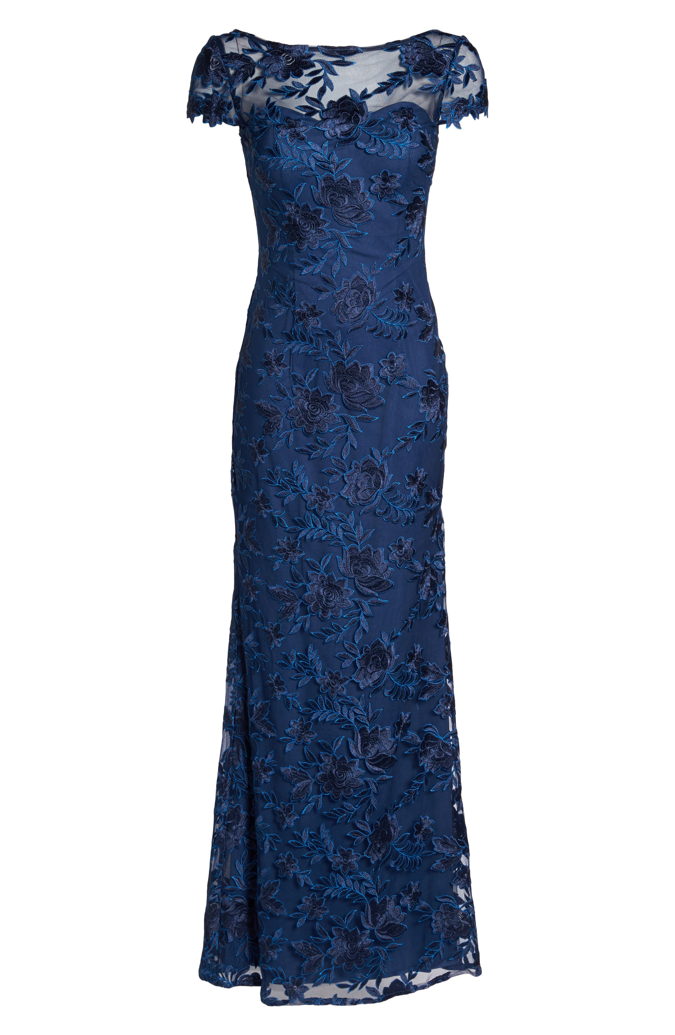 Lace Overlay Gown,                             Alternate thumbnail 6, color,                             Navy