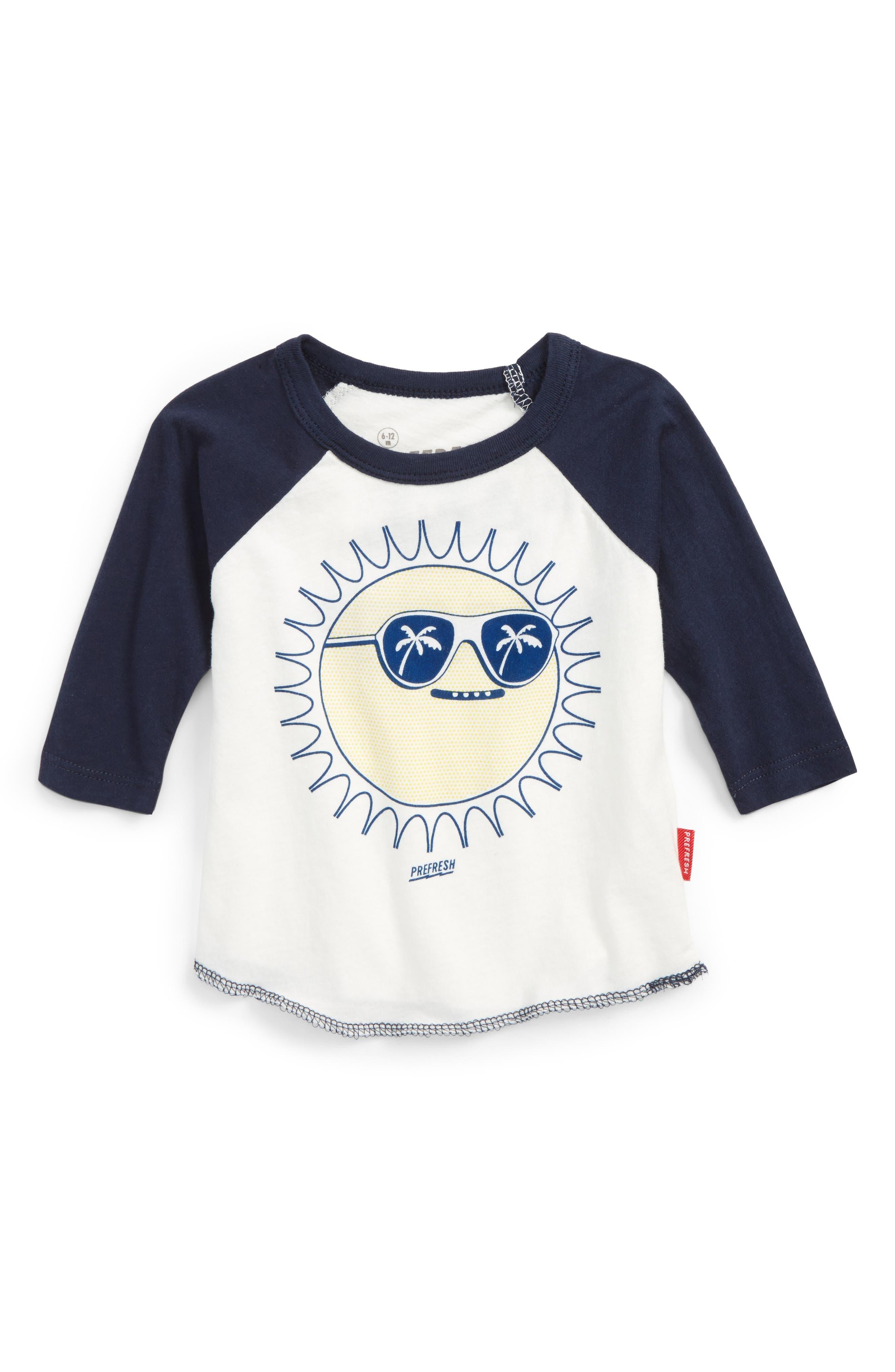 Sunny Baseball Raglan T-Shirt,                         Main,                         color, Natural/ Navy