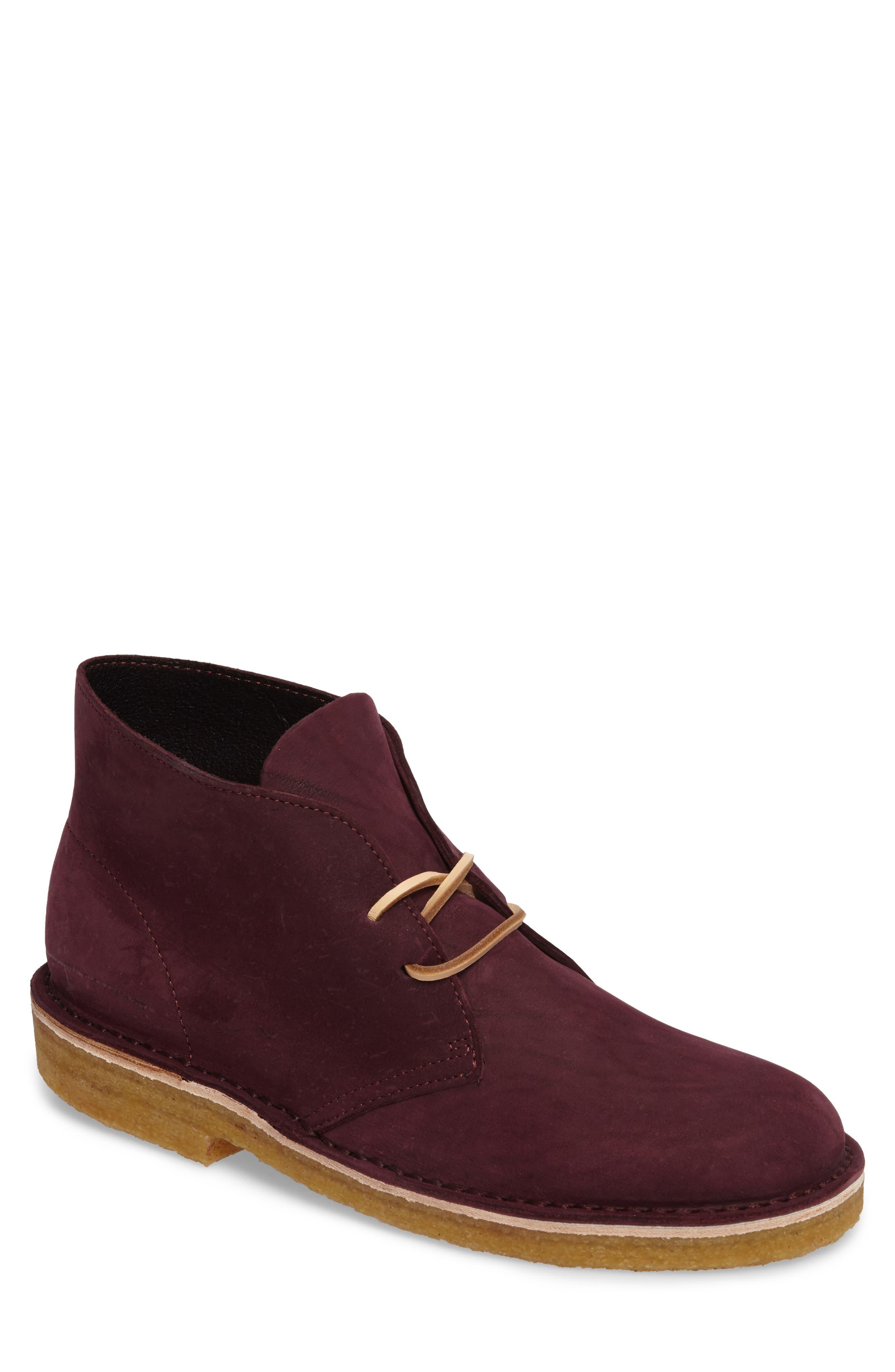 Clarks Desert Chukka Boot,                         Main,                         color, Burgundy Nubuck