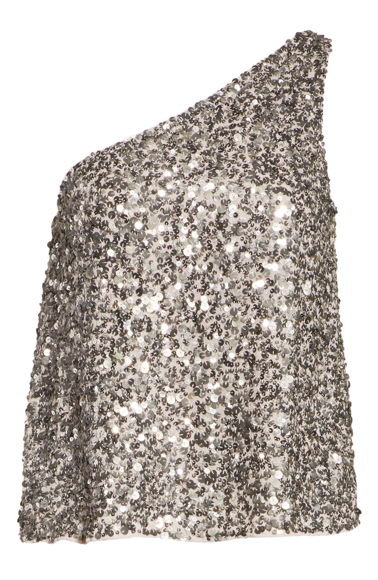 Hedra One-Shoulder Sequin Top,                             Alternate thumbnail 6, color,                             Vintage Silver