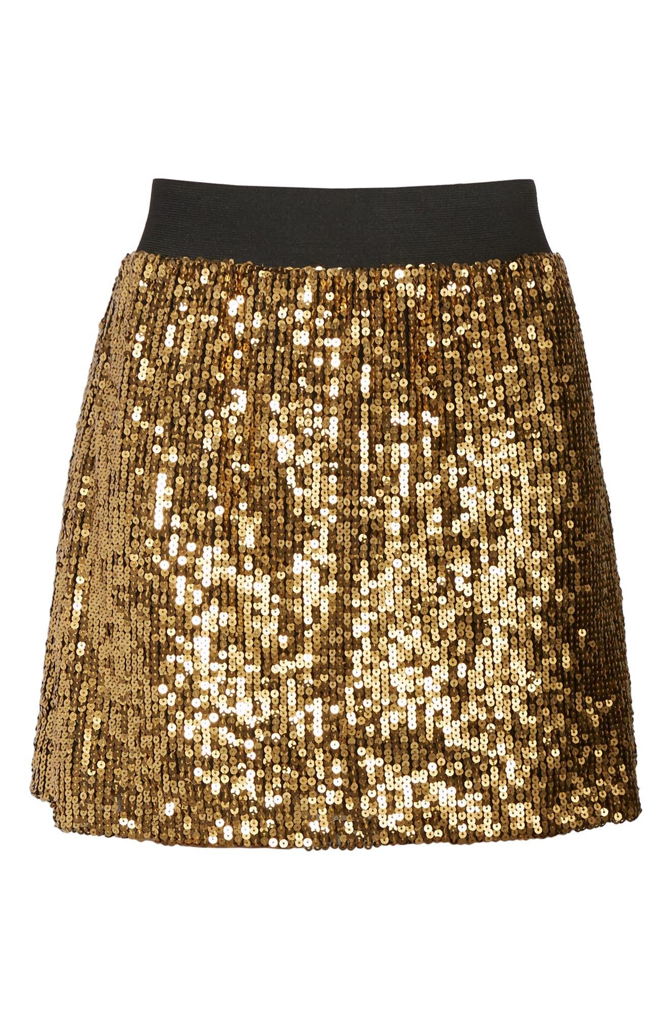 Sequin Miniskirt,                             Alternate thumbnail 5, color,                             Metallic Gold
