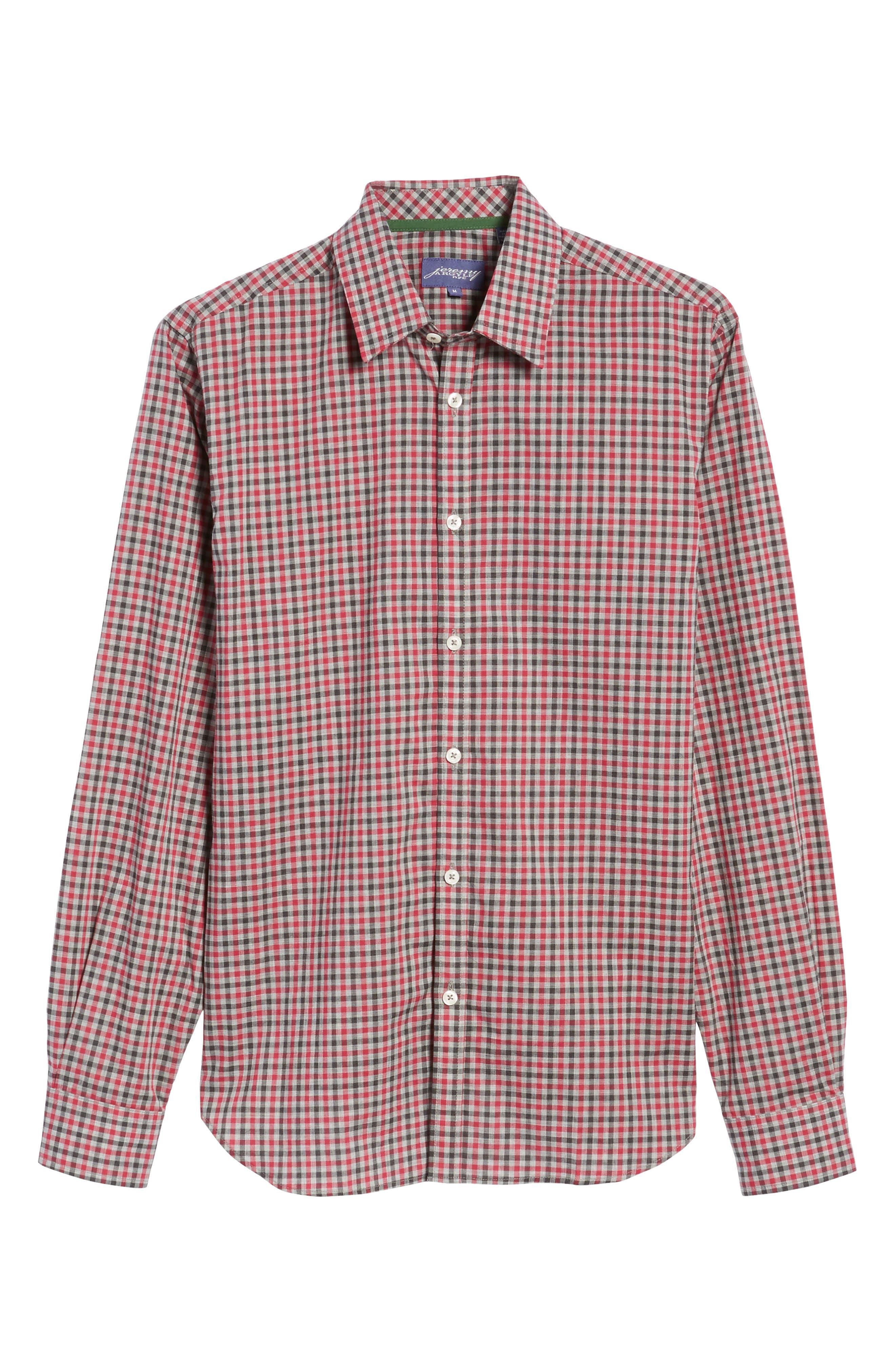 Slim Fit Check Sport Shirt,                             Alternate thumbnail 6, color,                             Medium Red