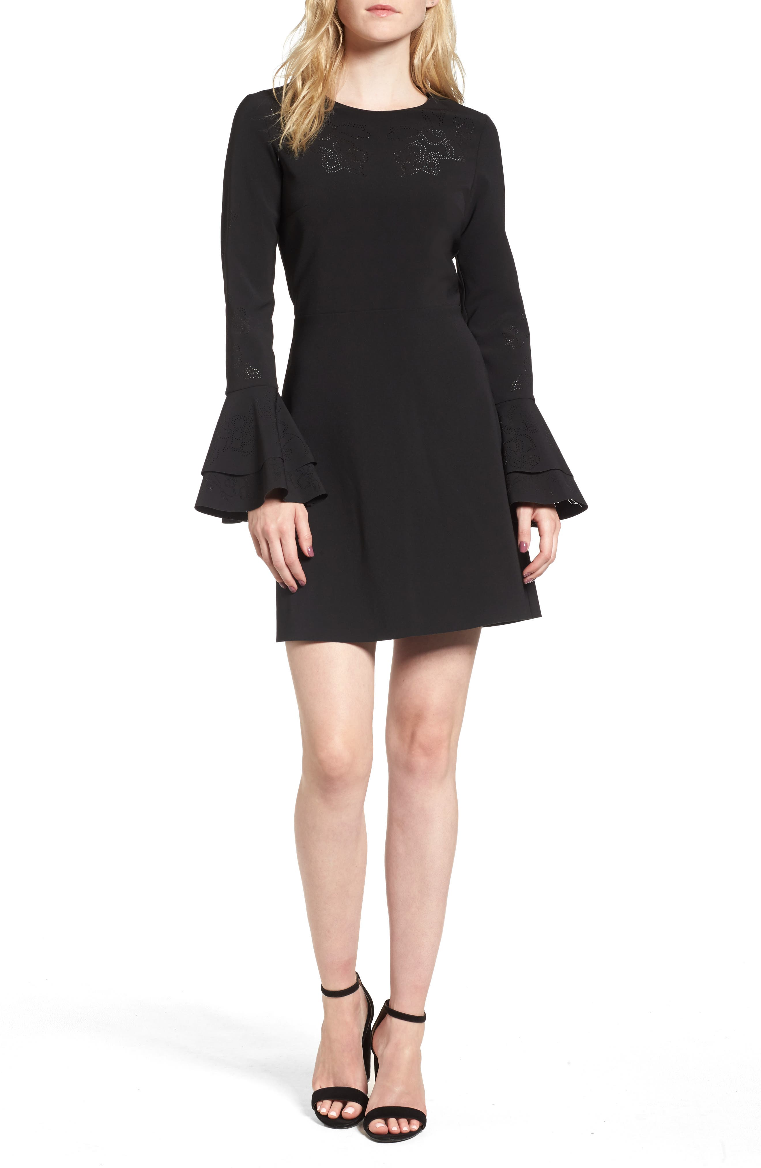 Orlando Ruffle Sleeve Dress,                         Main,                         color, Black