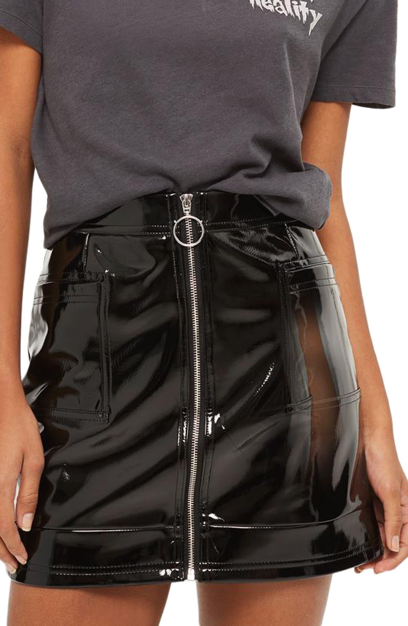 Zip Through Vinyl Miniskirt,                             Main thumbnail 1, color,                             Black
