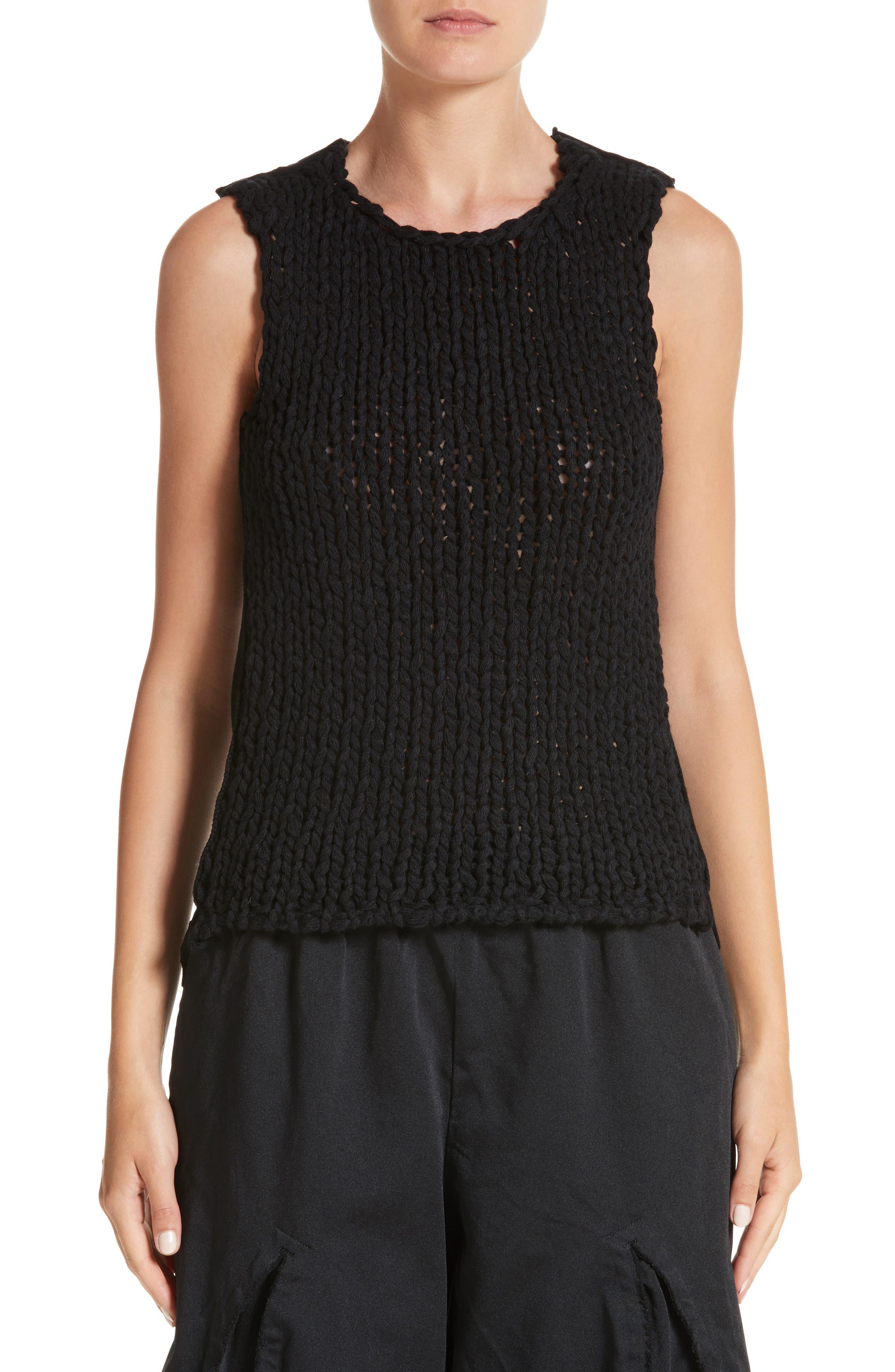 Knit Sleeveless Top,                         Main,                         color, Black/ Black