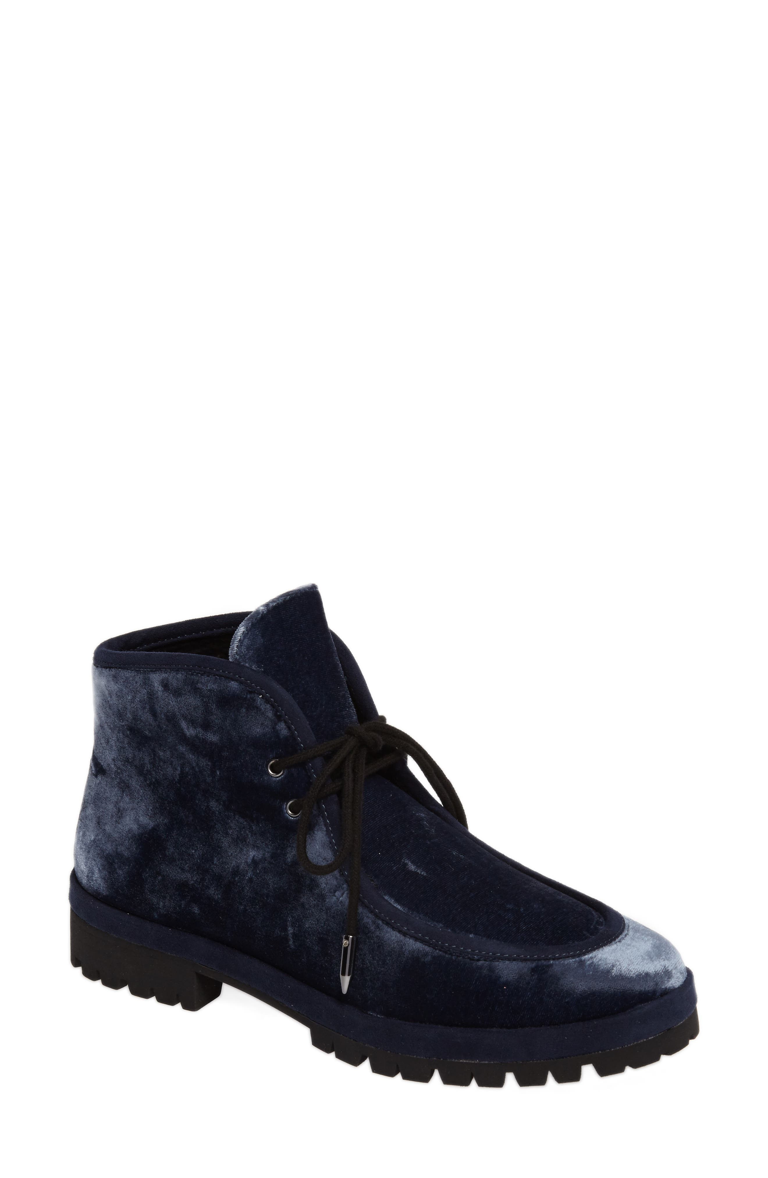 Demi Lace-Up Bootie,                             Main thumbnail 1, color,                             Midnight Navy Velvet