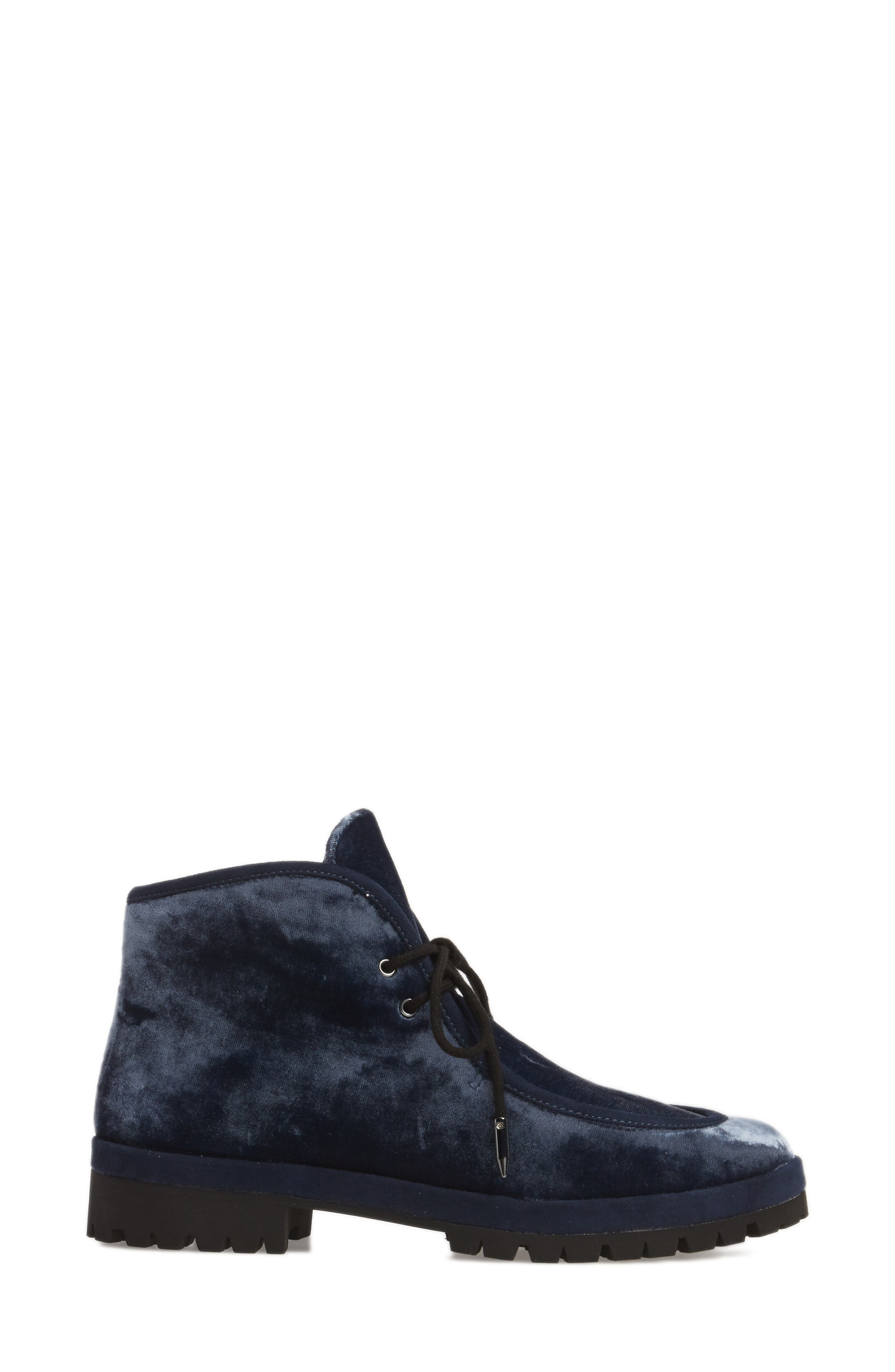 Demi Lace-Up Bootie,                             Alternate thumbnail 3, color,                             Midnight Navy Velvet