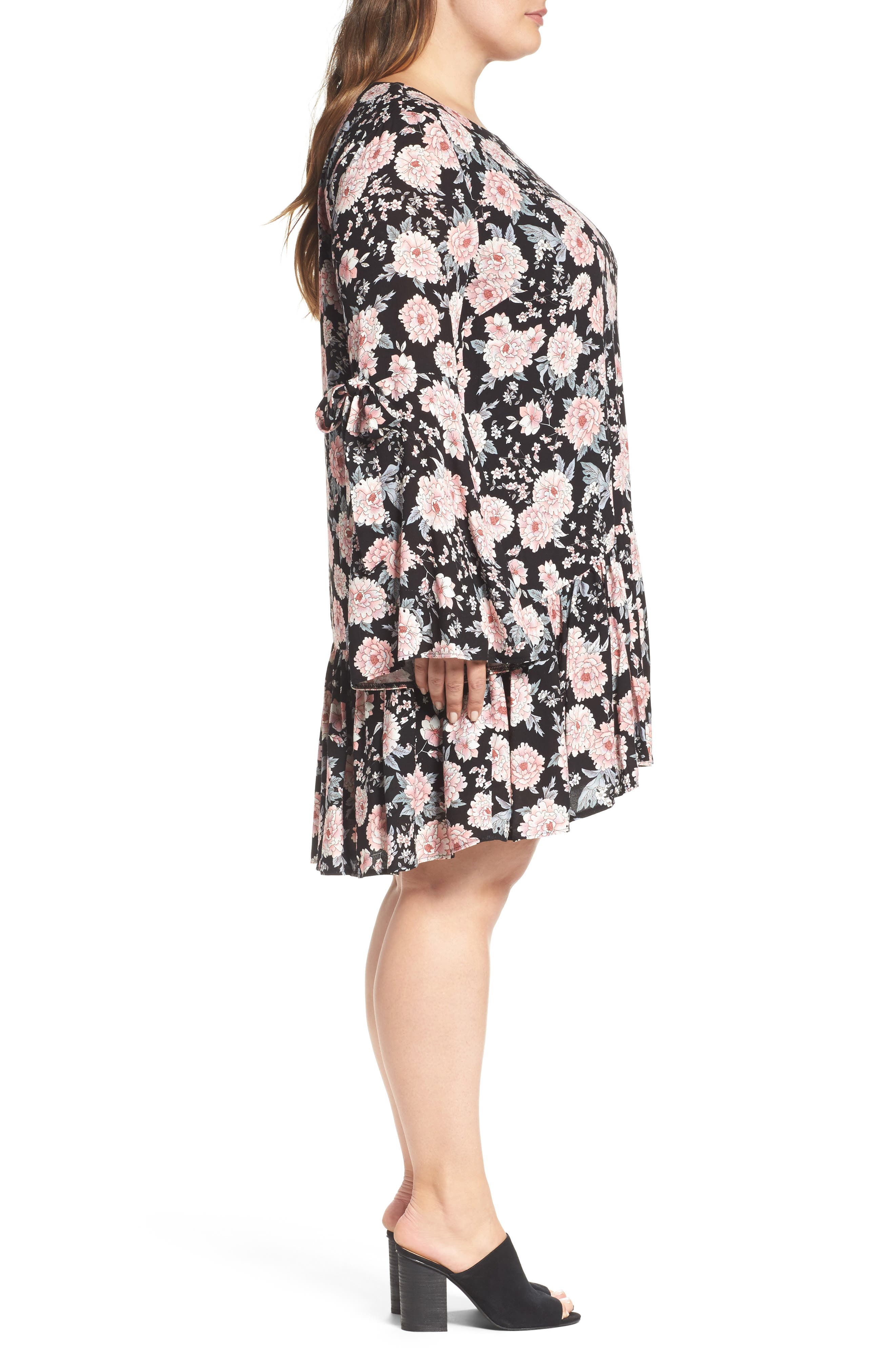 Alternate Image 3  - Glamorous Drop Waist Bell Sleeve Shift Dress (Plus Size)