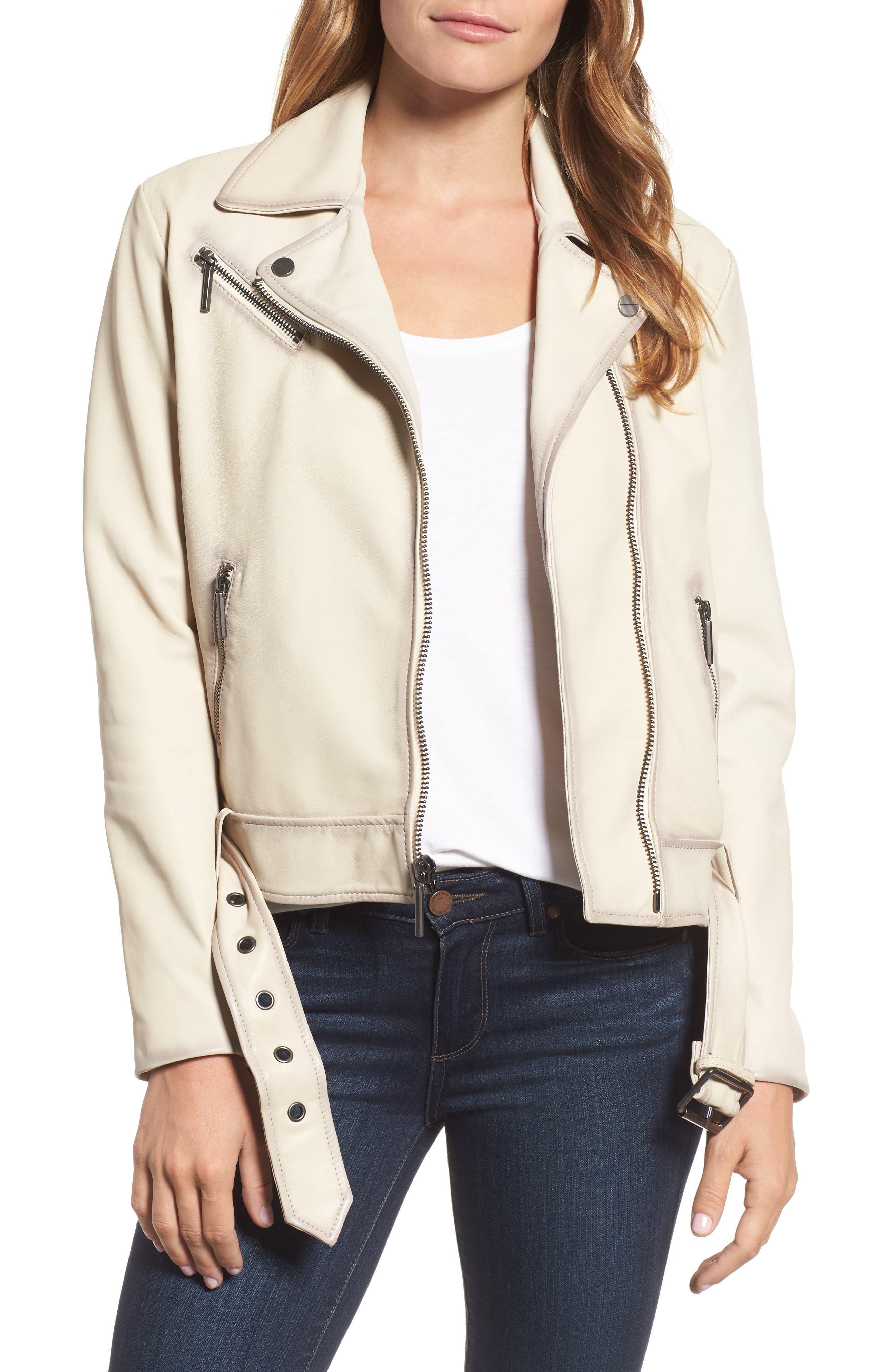 Leather Moto Jacket,                         Main,                         color, Stucco