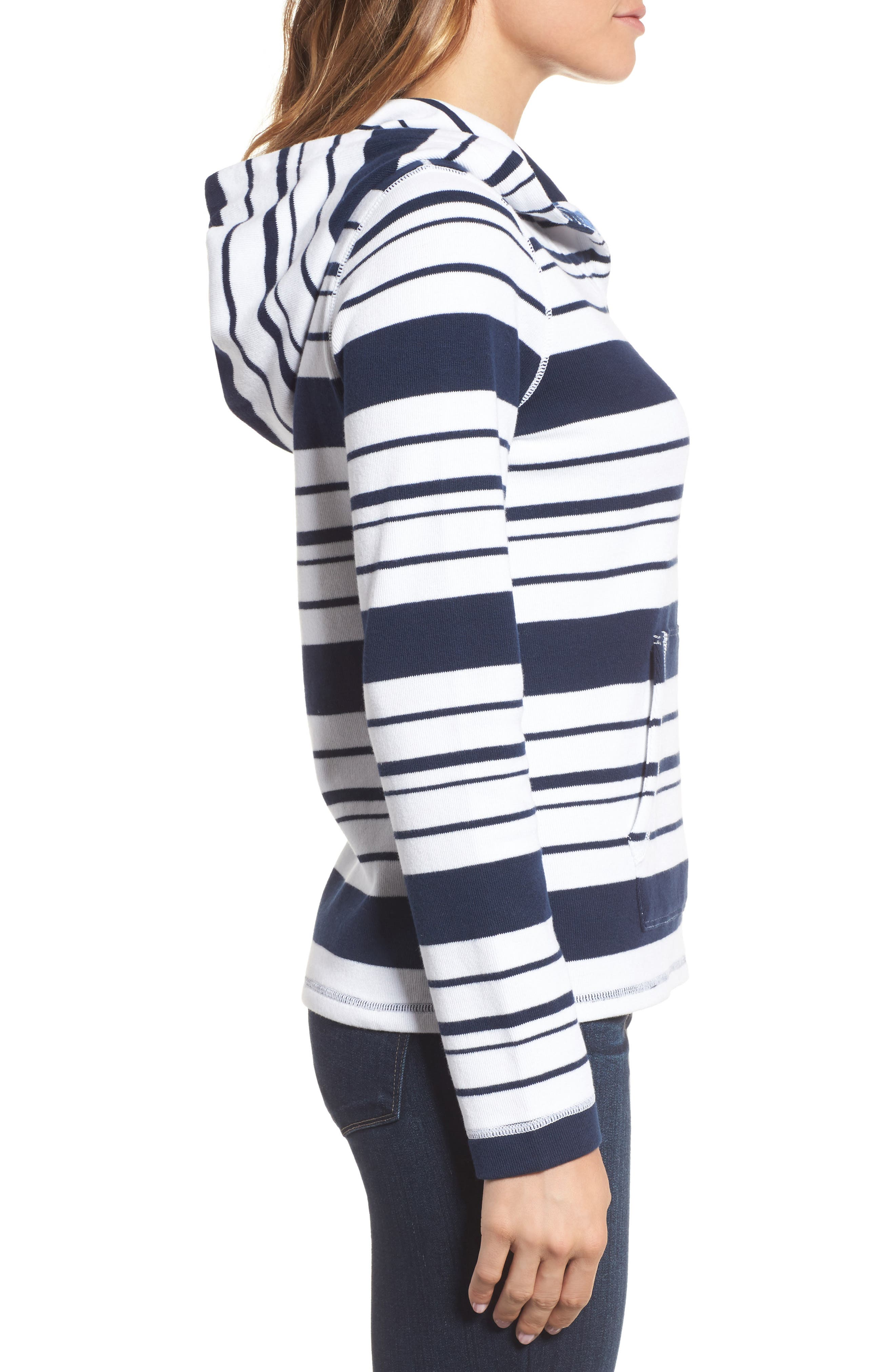 Aruba Stripe Hoodie,                             Alternate thumbnail 3, color,                             Ocean Deep
