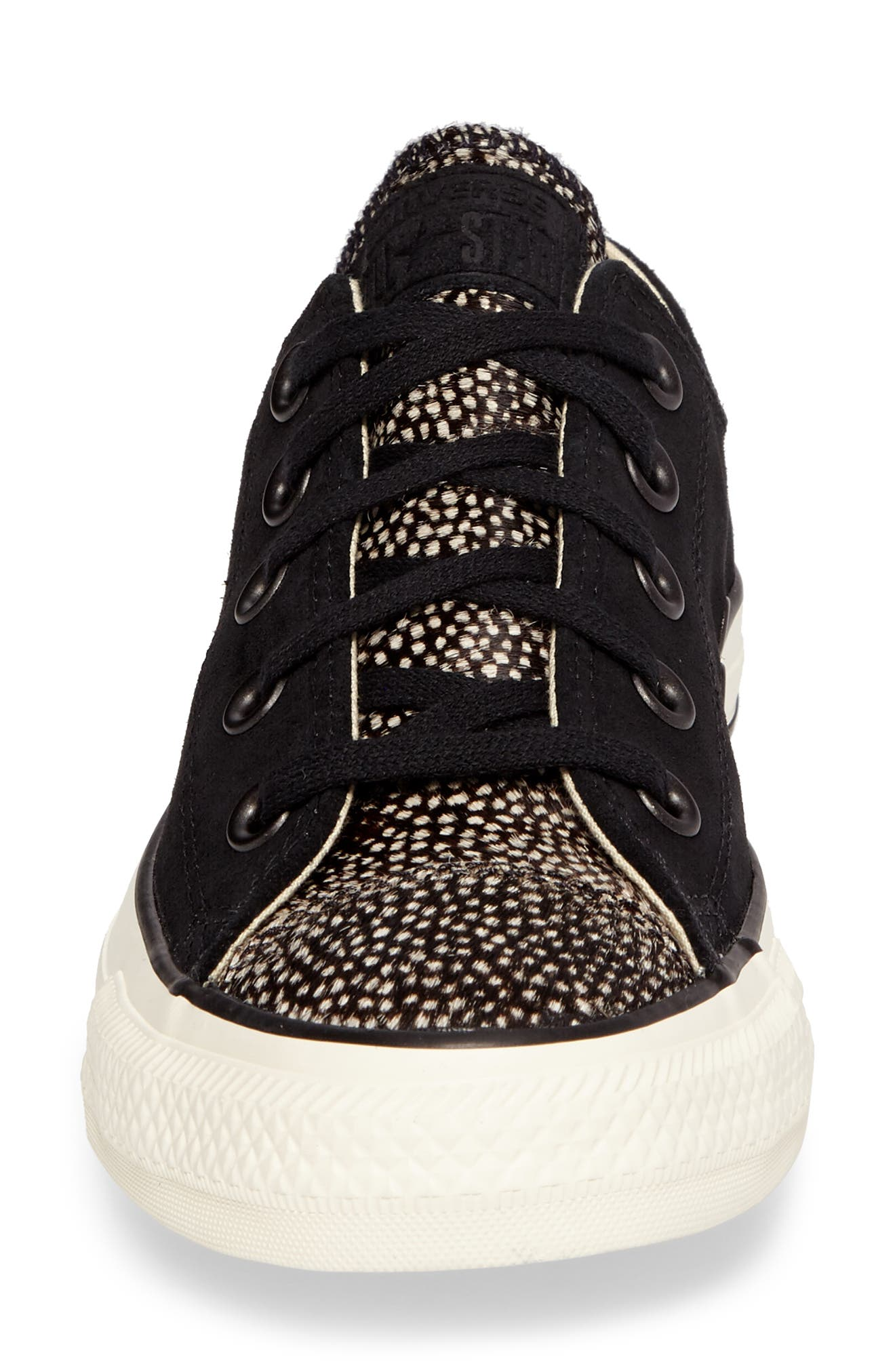 Chuck Taylor<sup>®</sup> All Star<sup>®</sup> Ox Genuine Calf Hair Sneaker,                             Alternate thumbnail 4, color,                             Black