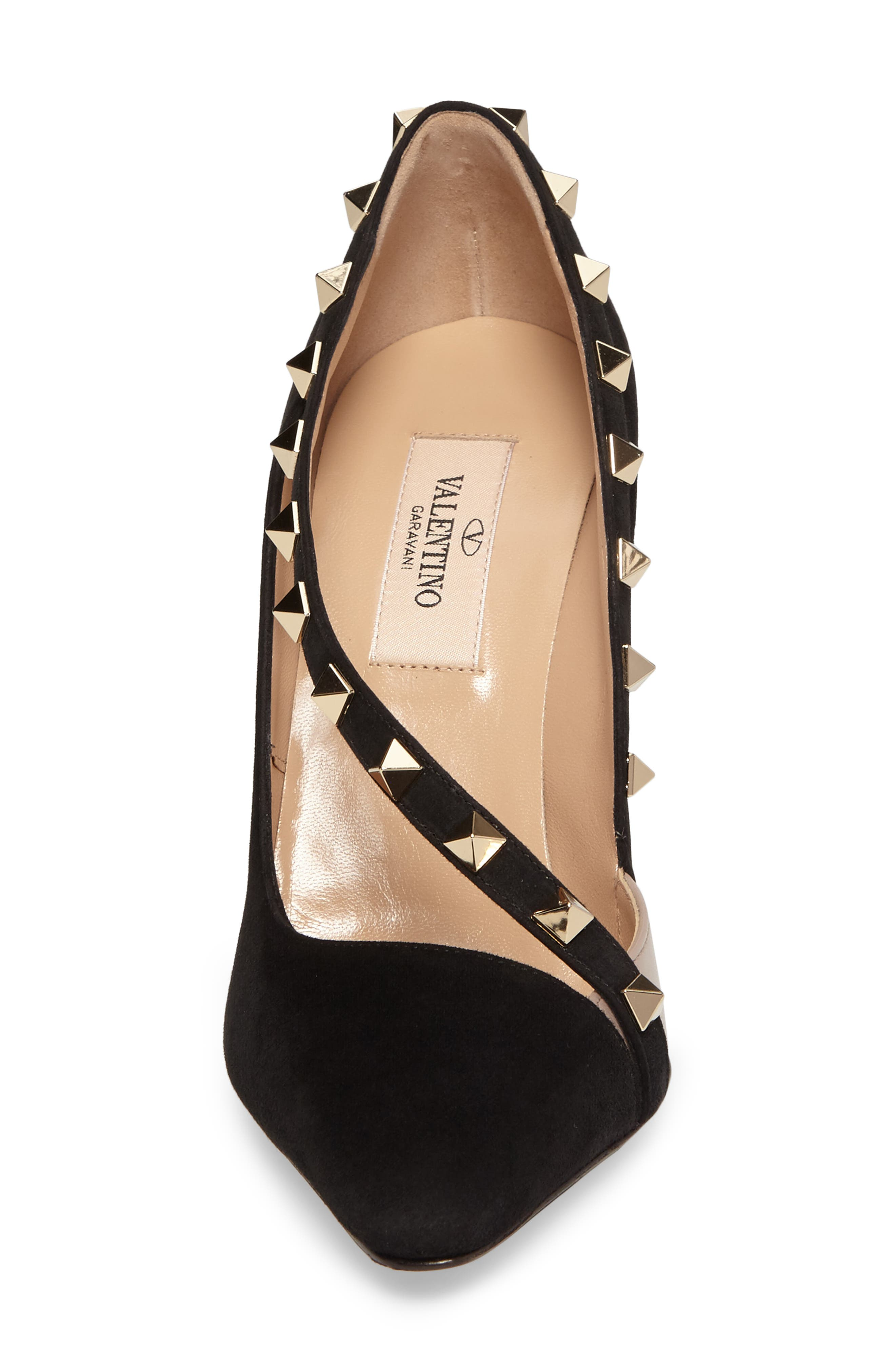 Rockstud d'Orsay Pump,                             Alternate thumbnail 4, color,                             Black Suede