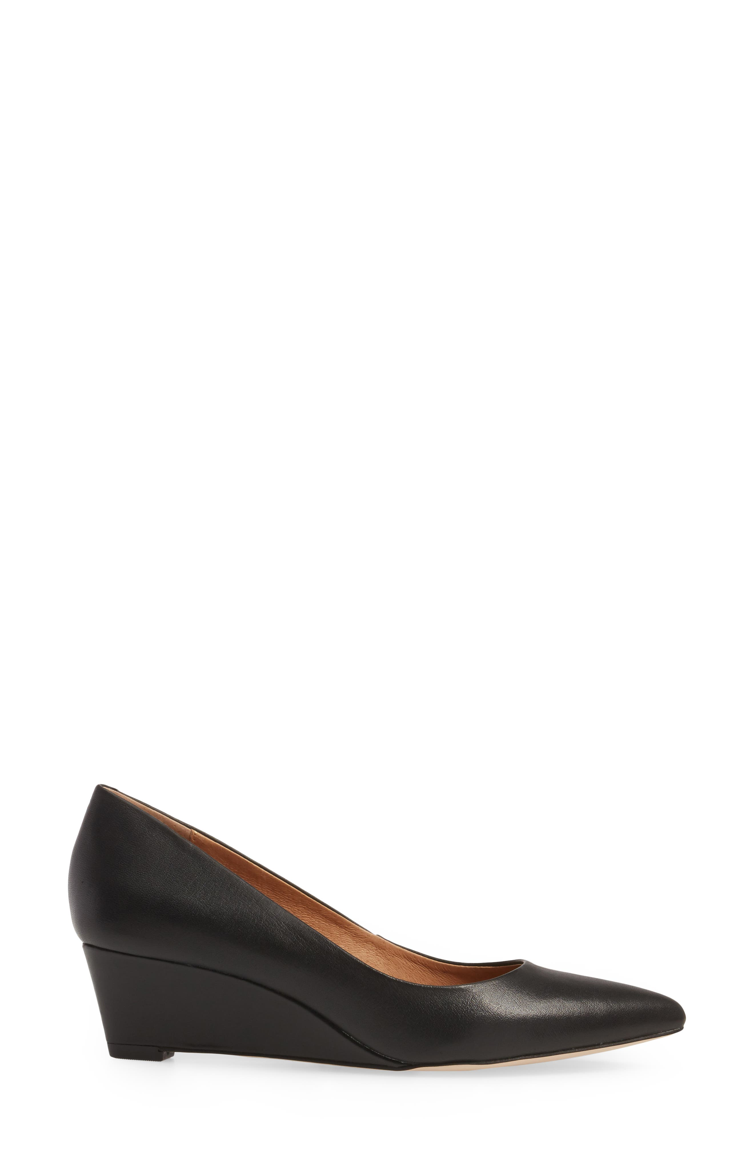 Nelly Pointy Toe Wedge Pump,                             Alternate thumbnail 3, color,                             Black Leather
