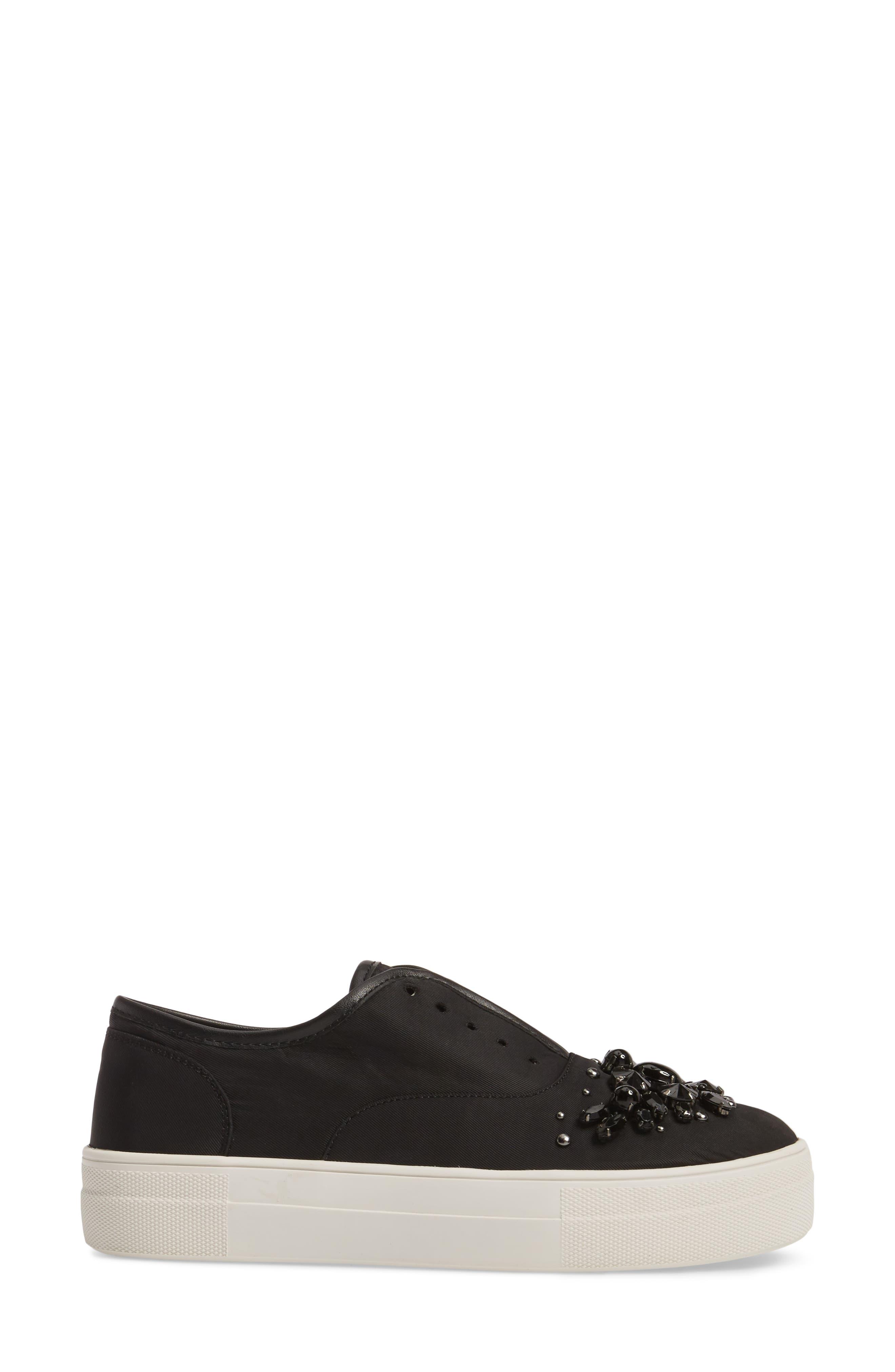 Passion Embellished Slip-On Platform Sneaker,                             Alternate thumbnail 3, color,                             Black