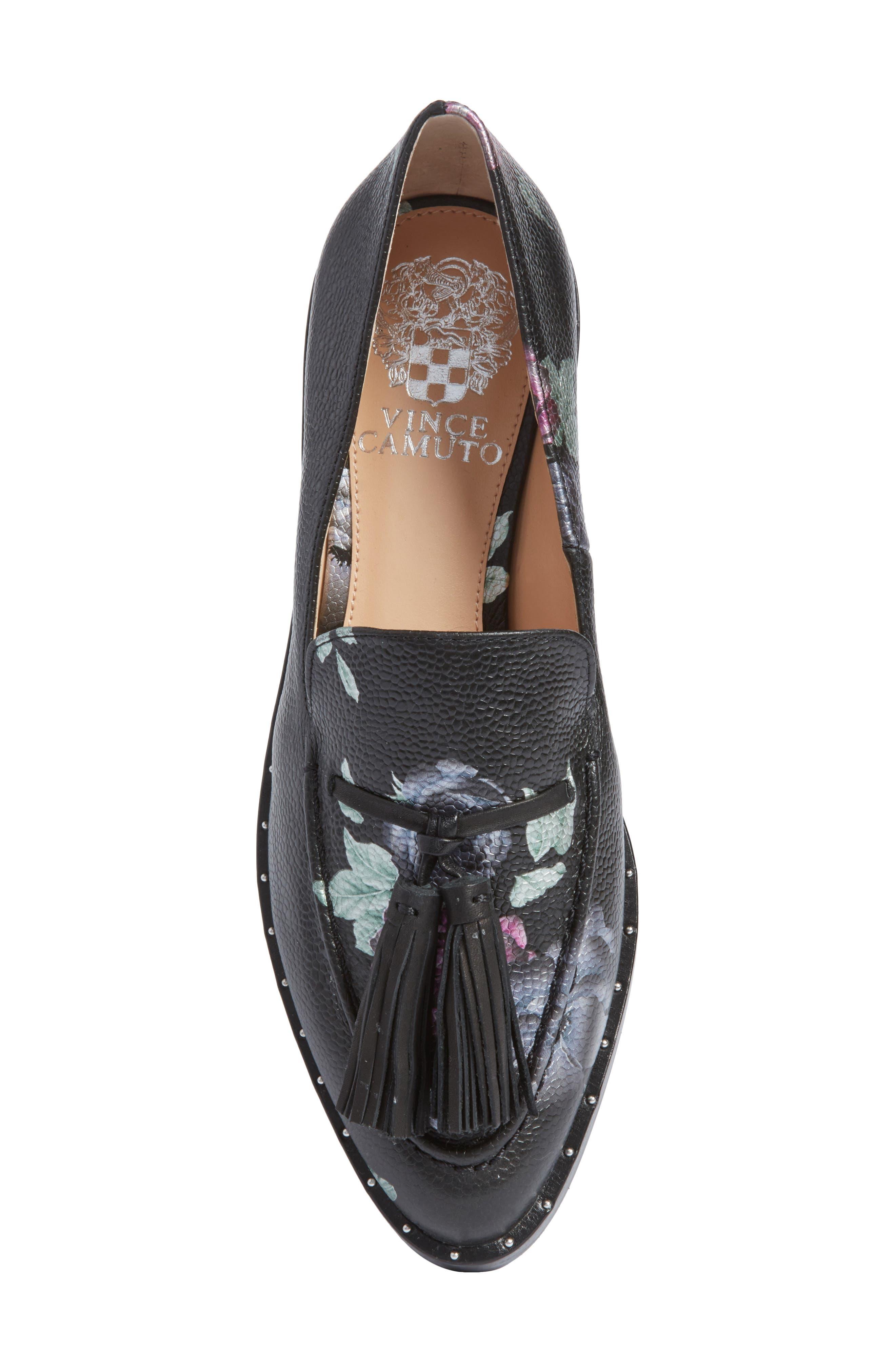 Geralin Tassel Loafer,                             Alternate thumbnail 5, color,                             Black Floral Print Leather