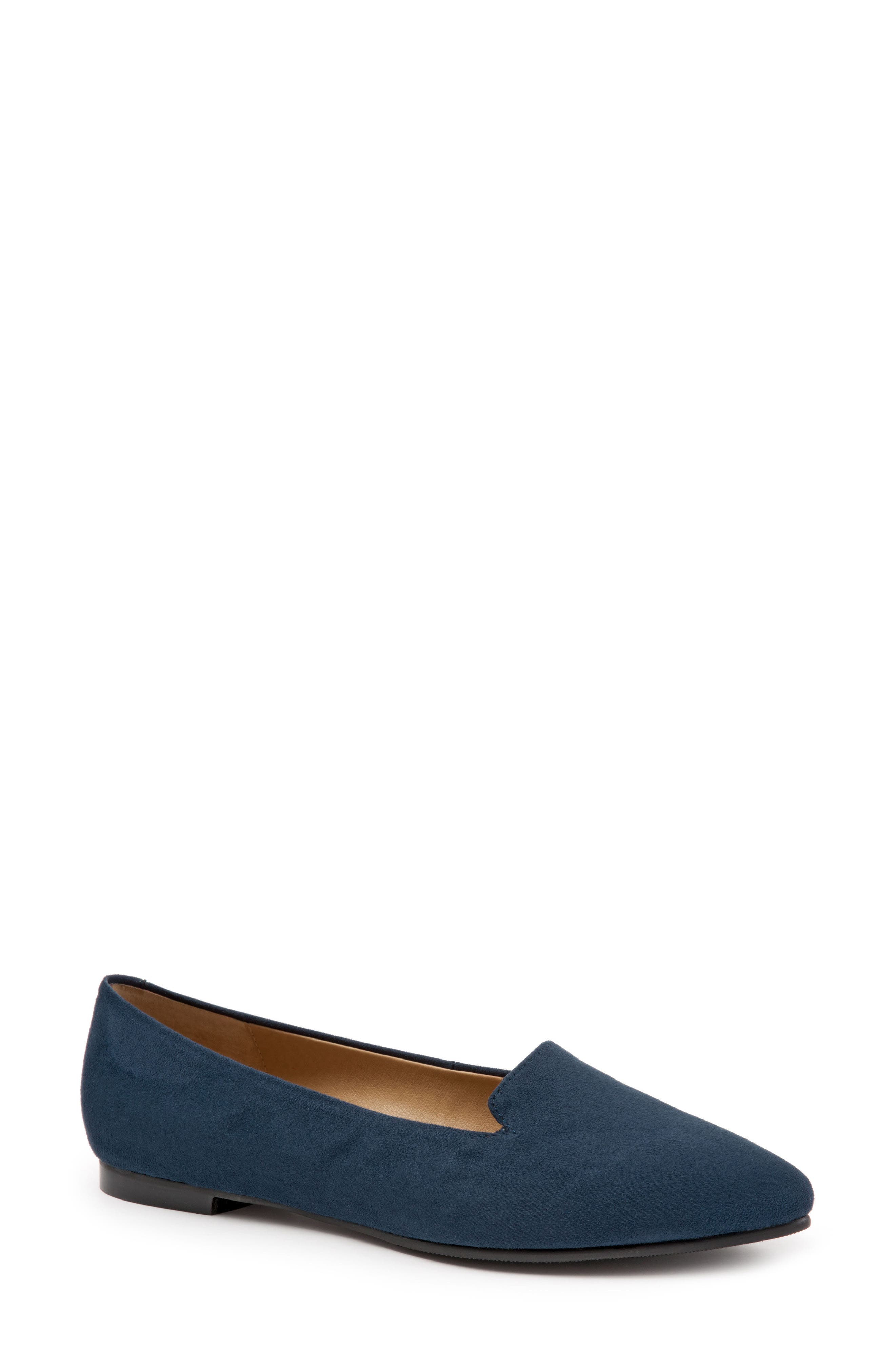 Harlowe Pointy Toe Loafer,                             Main thumbnail 1, color,                             Navy Leather
