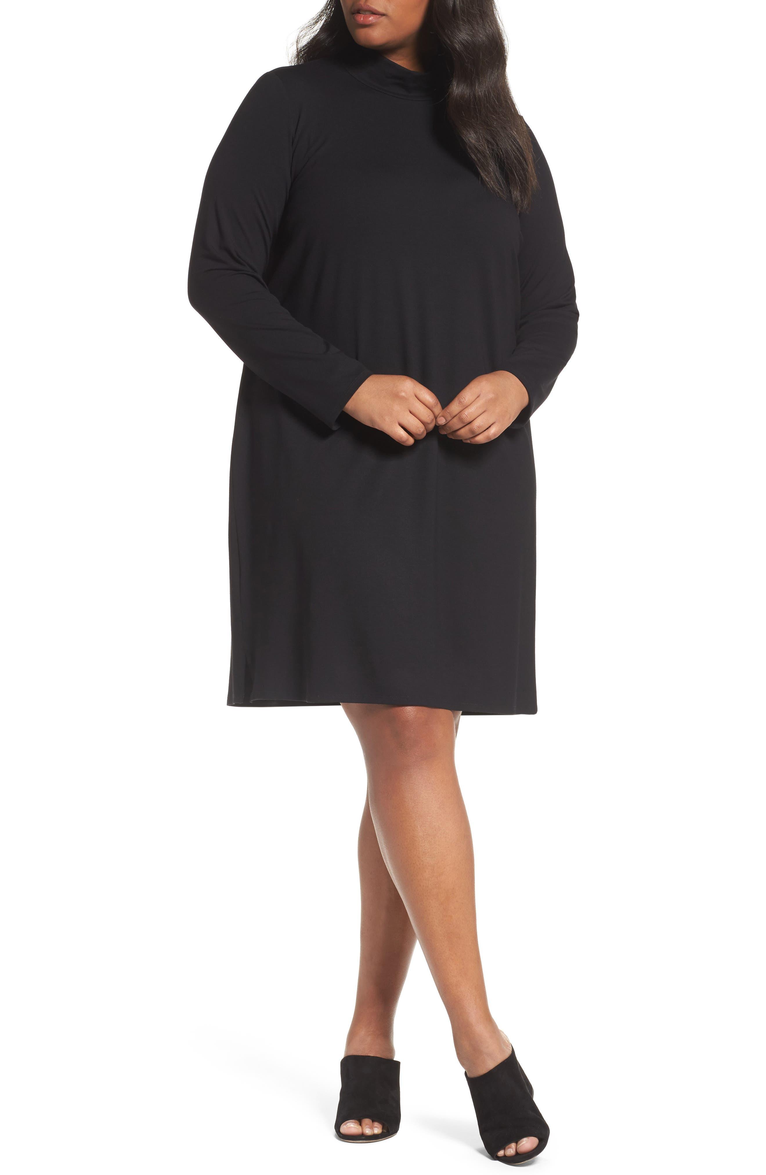Eileen Fisher Mock Neck Shift Dress (Plus Size)
