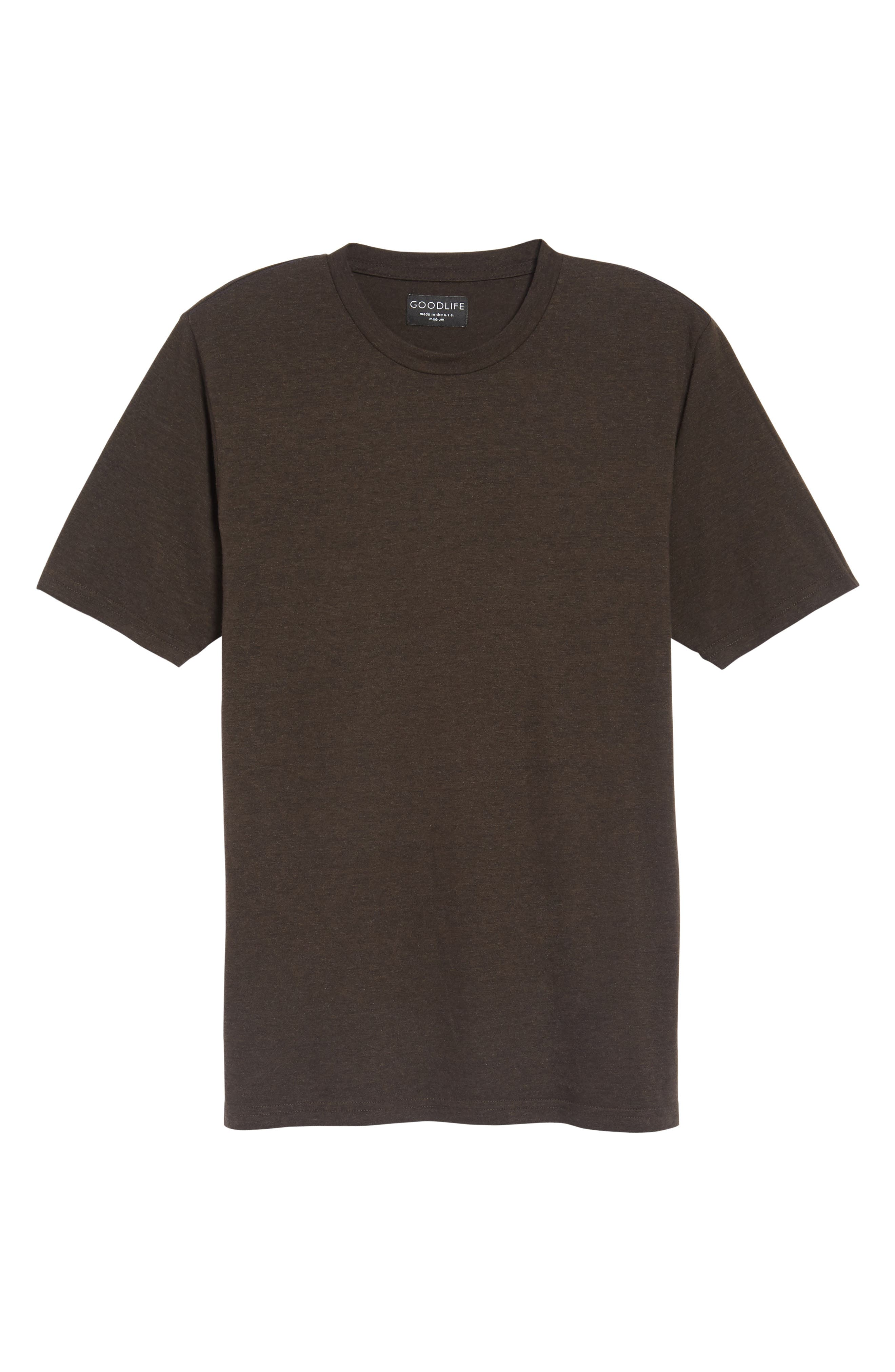 Crewneck Heathered T-Shirt,                             Alternate thumbnail 5, color,                             Espresso