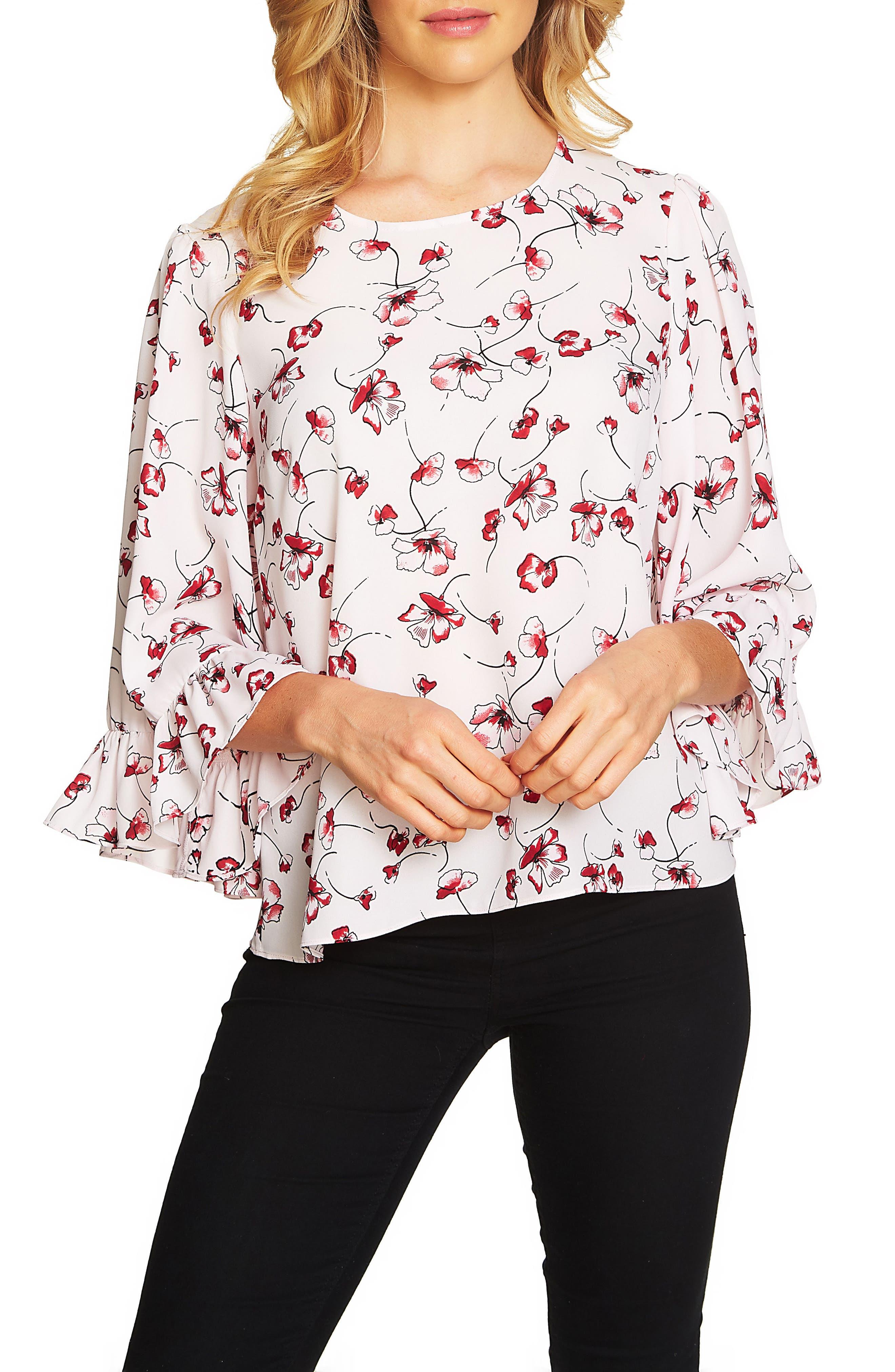 Natasha Floral Ruffle Top,                         Main,                         color, Iced Blush
