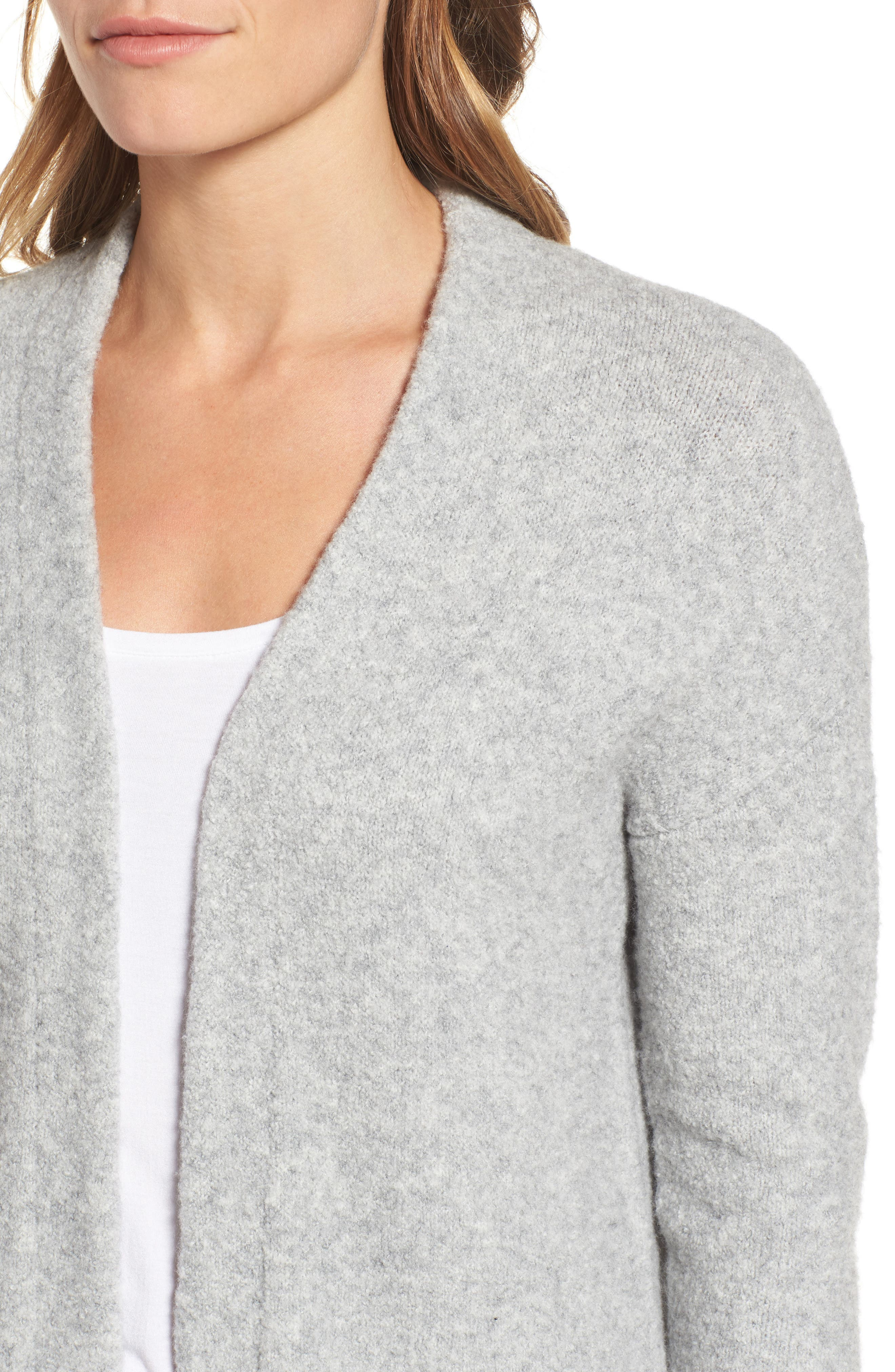 Open Front Cardigan,                             Alternate thumbnail 4, color,                             Heather Grey