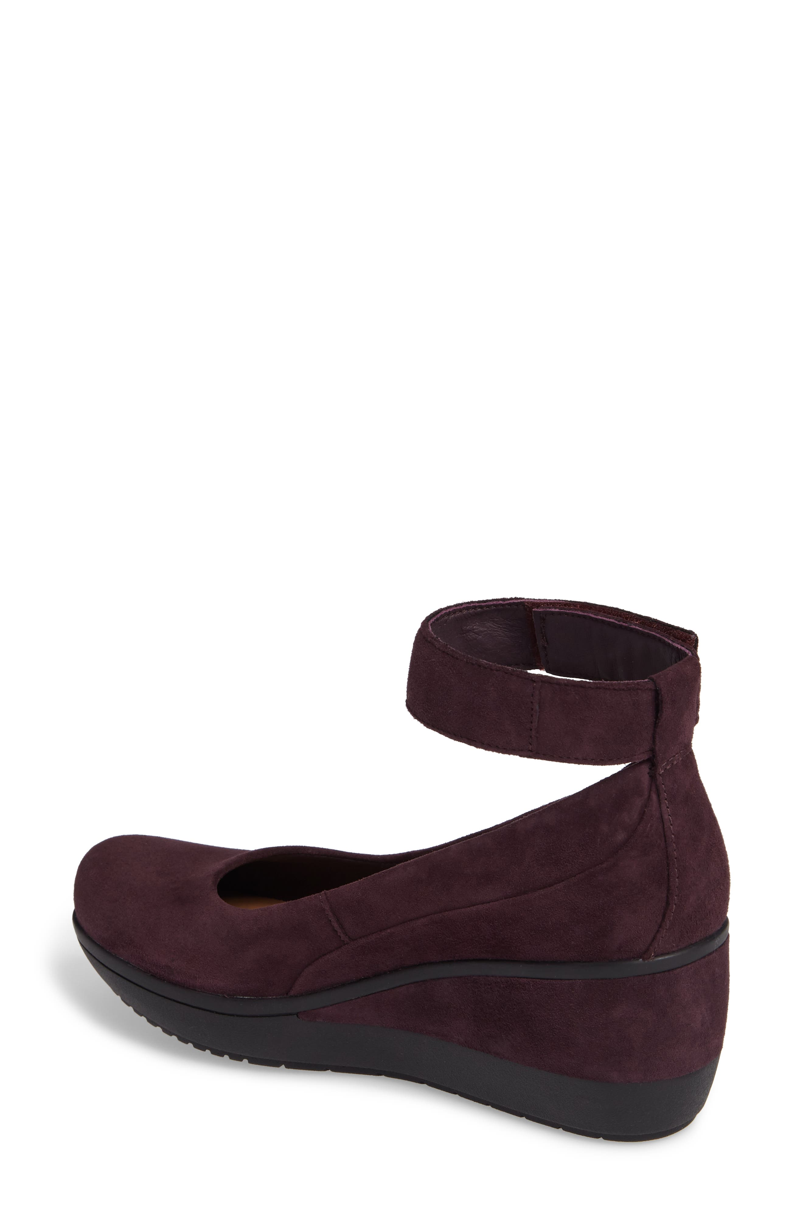Wynnmere Fox Ankle Strap Pump,                             Alternate thumbnail 2, color,                             Aubergine Suede