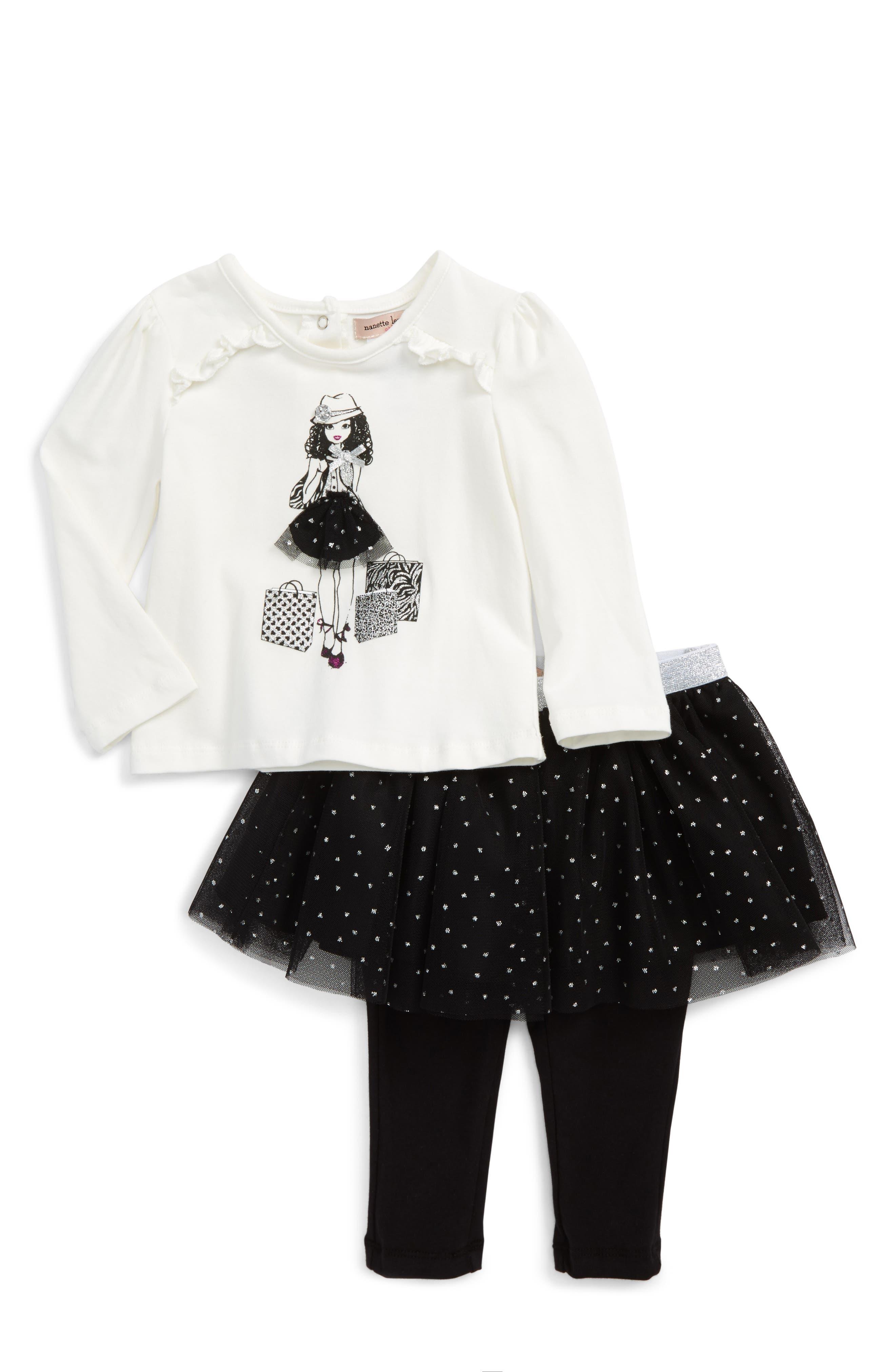 Nanette Lepore Shopping Girl Tee & Skirt Set (Baby Girls)