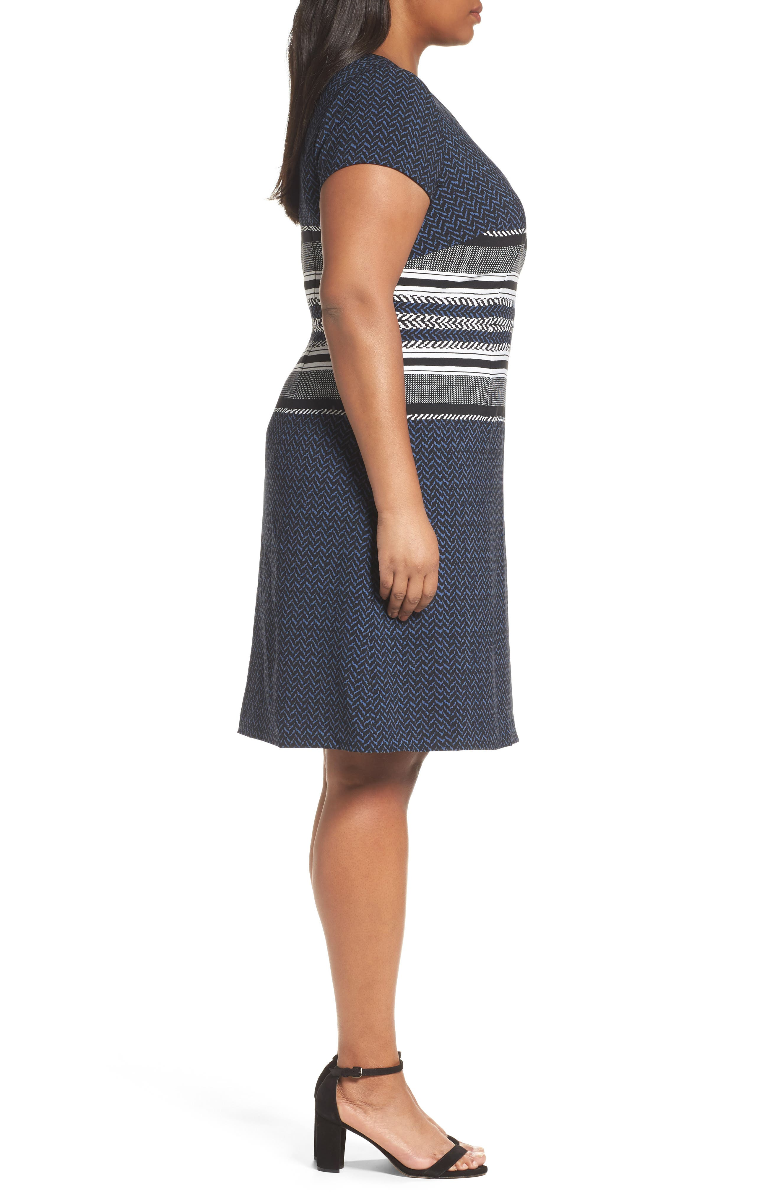 Alternate Image 3  - Adrianna Papell Herringbone Print Sheath Dress (Plus Size)