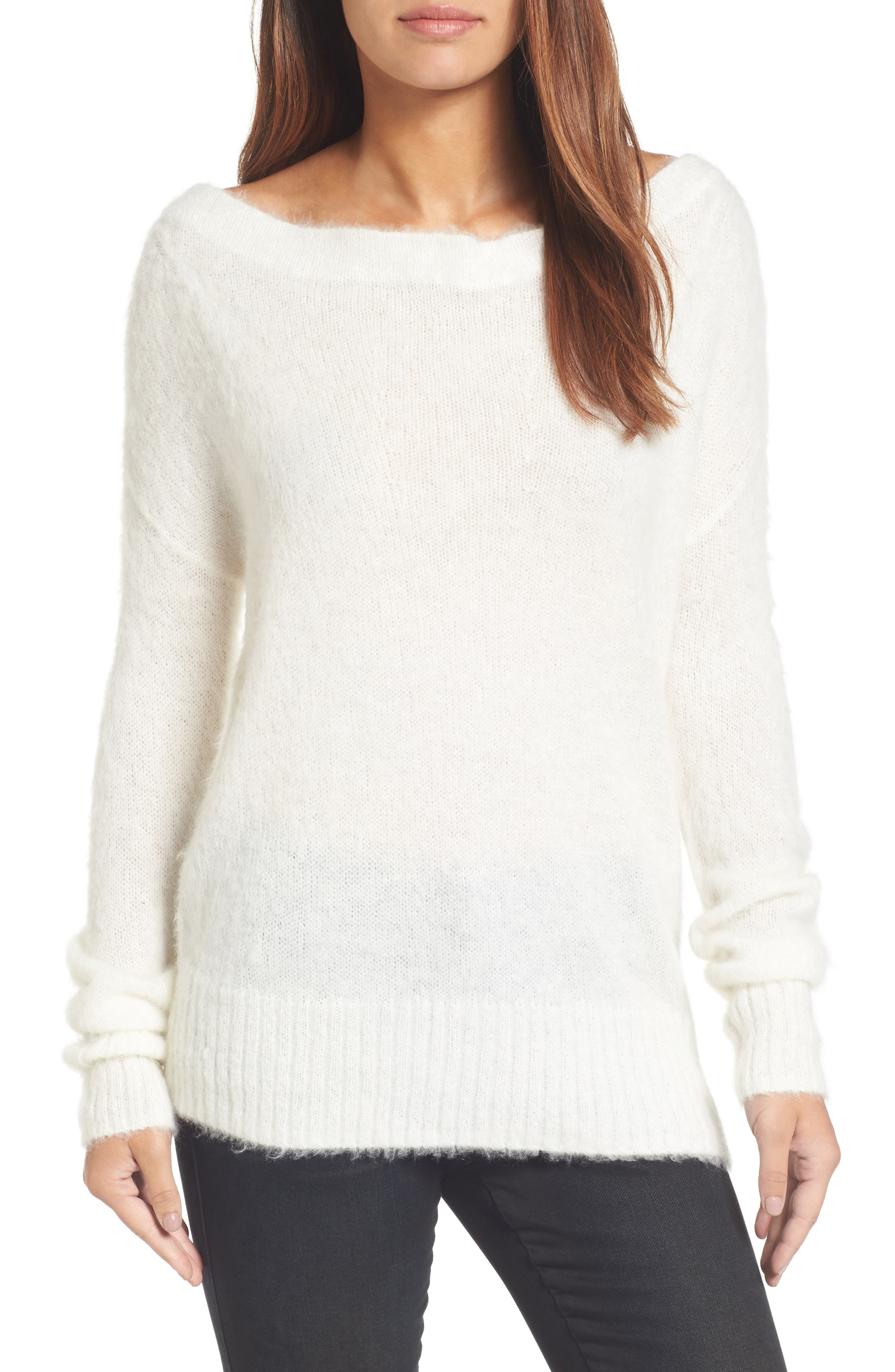 Long Sleeve Brushed Sweater,                         Main,                         color, Ivory Cloud
