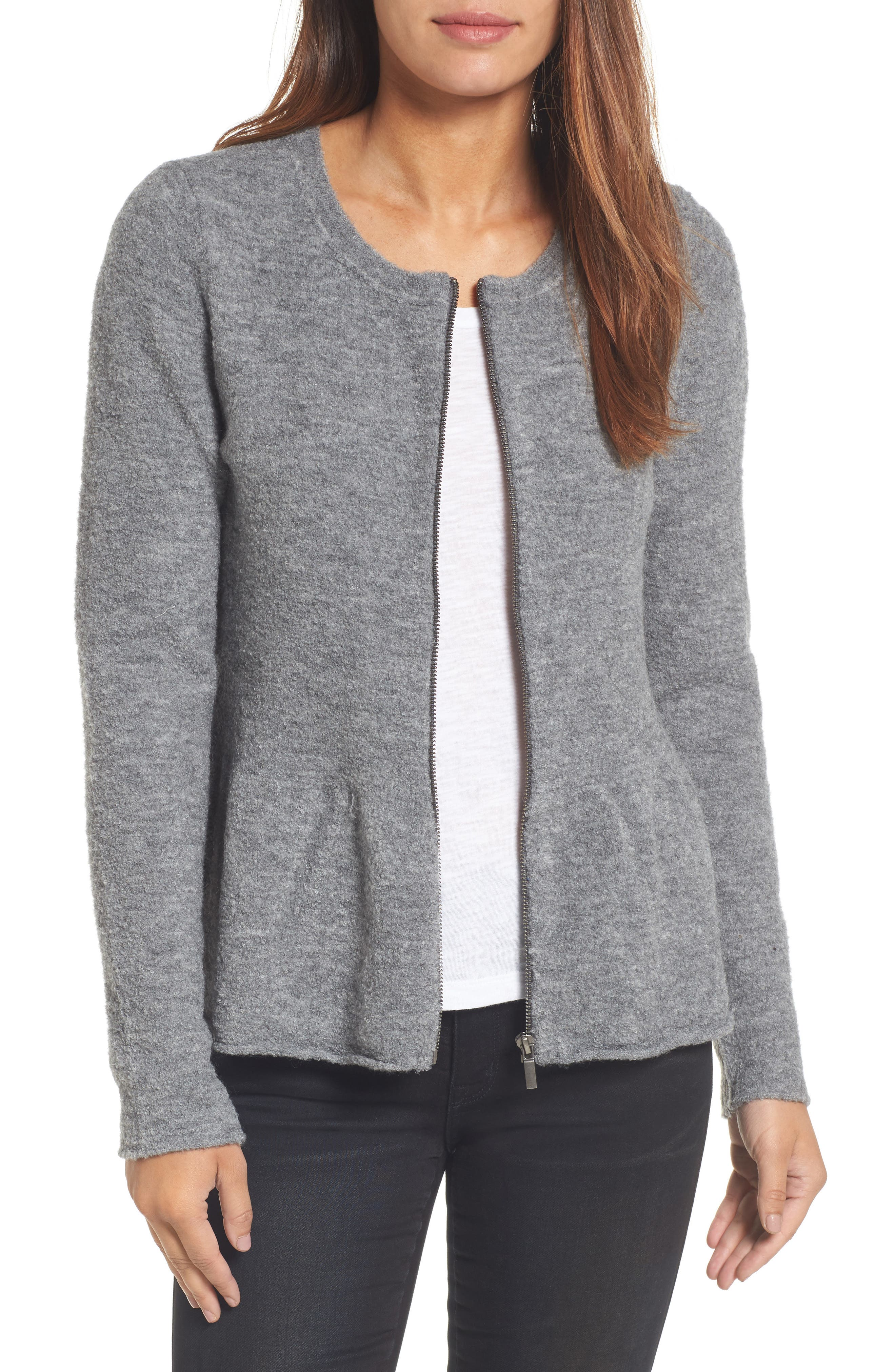 Peplum Bouclé Jacket,                         Main,                         color, Heather Dark Grey