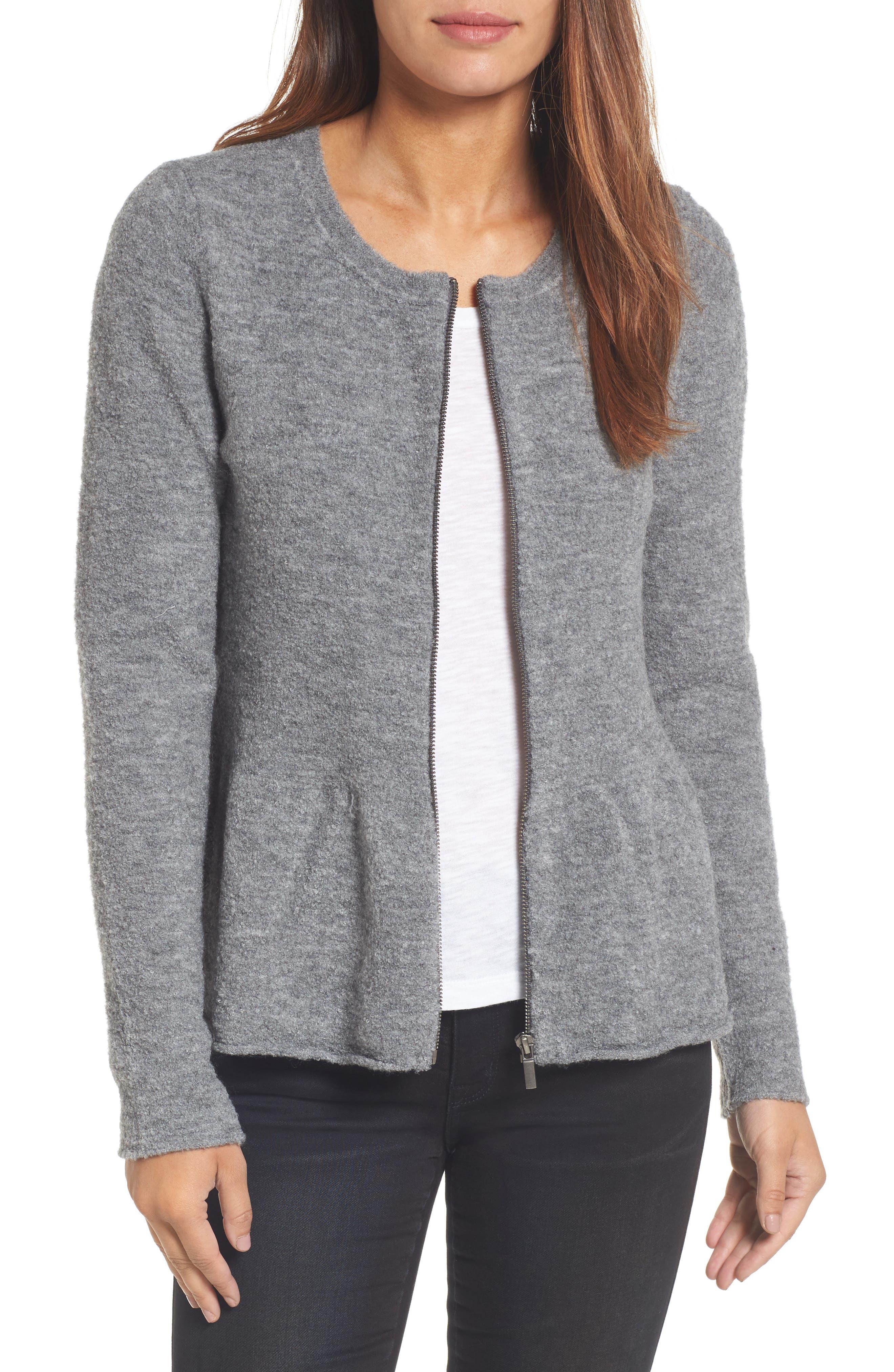 Caslon® Peplum Bouclé Jacket (Regular & Petite)