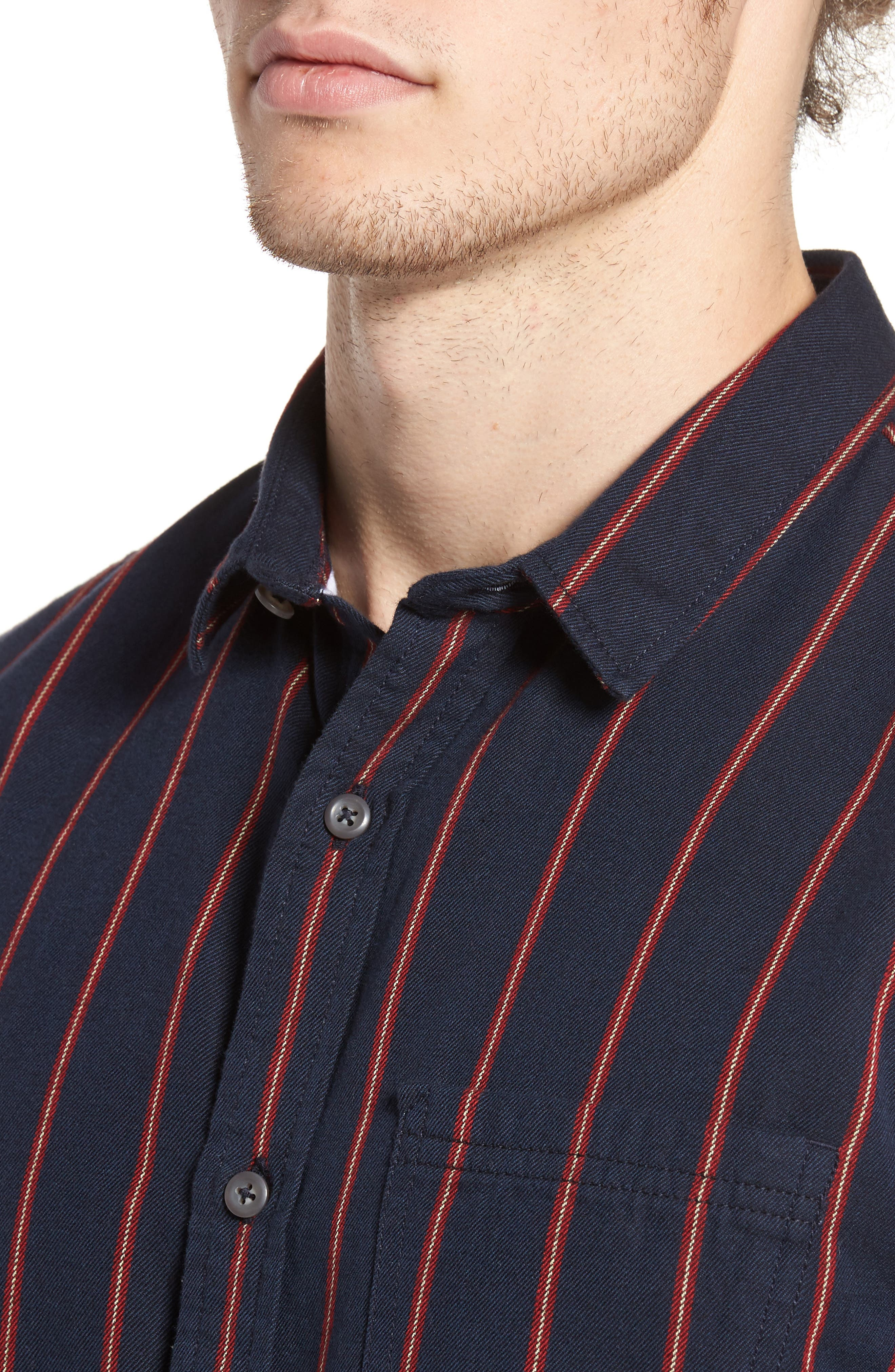 The Rail Long Sleeve Twill Shirt,                             Alternate thumbnail 4, color,                             Navy Peacoat Red Stripe