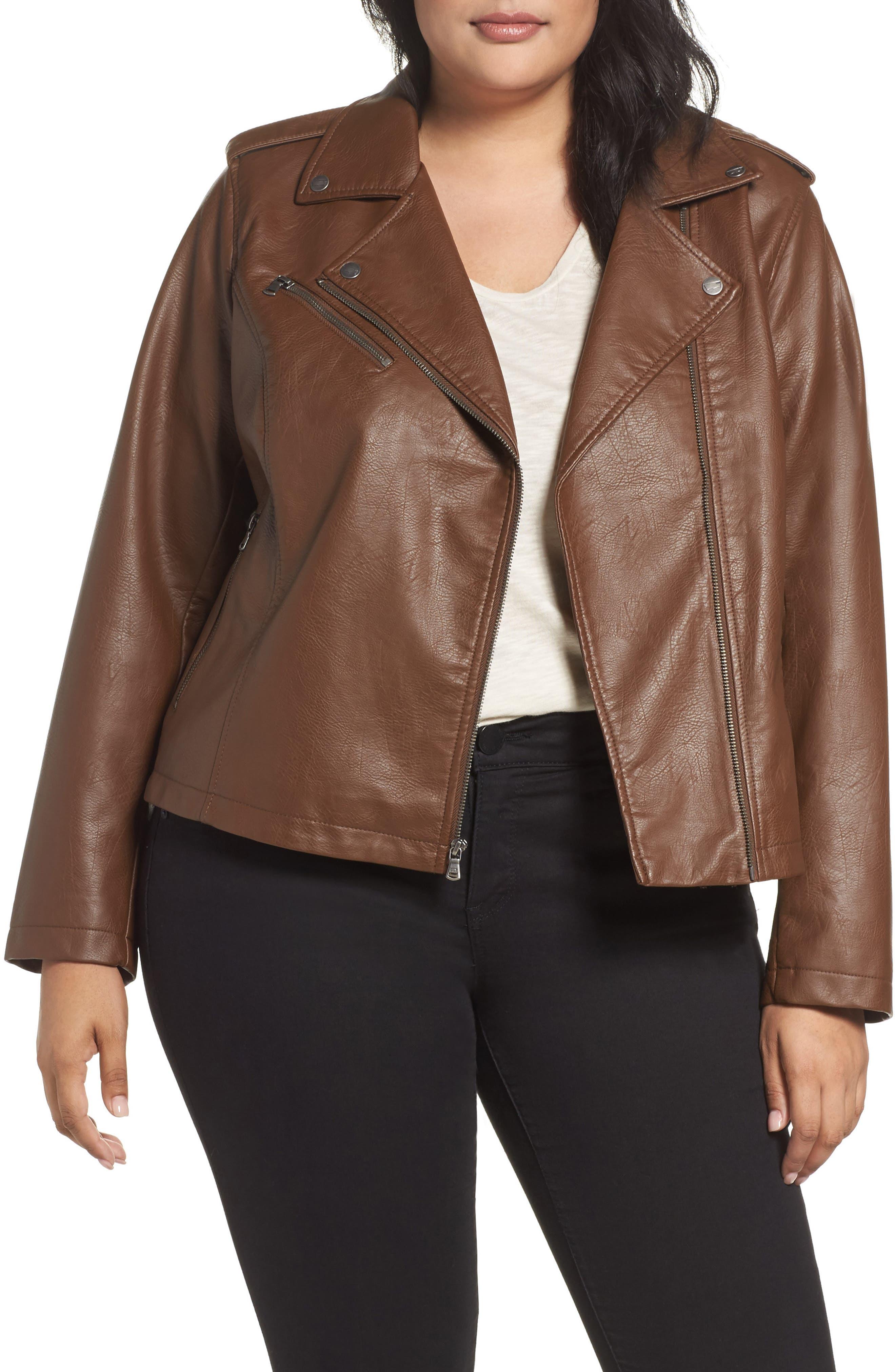 Faux Leather Jacket,                         Main,                         color, Cognac