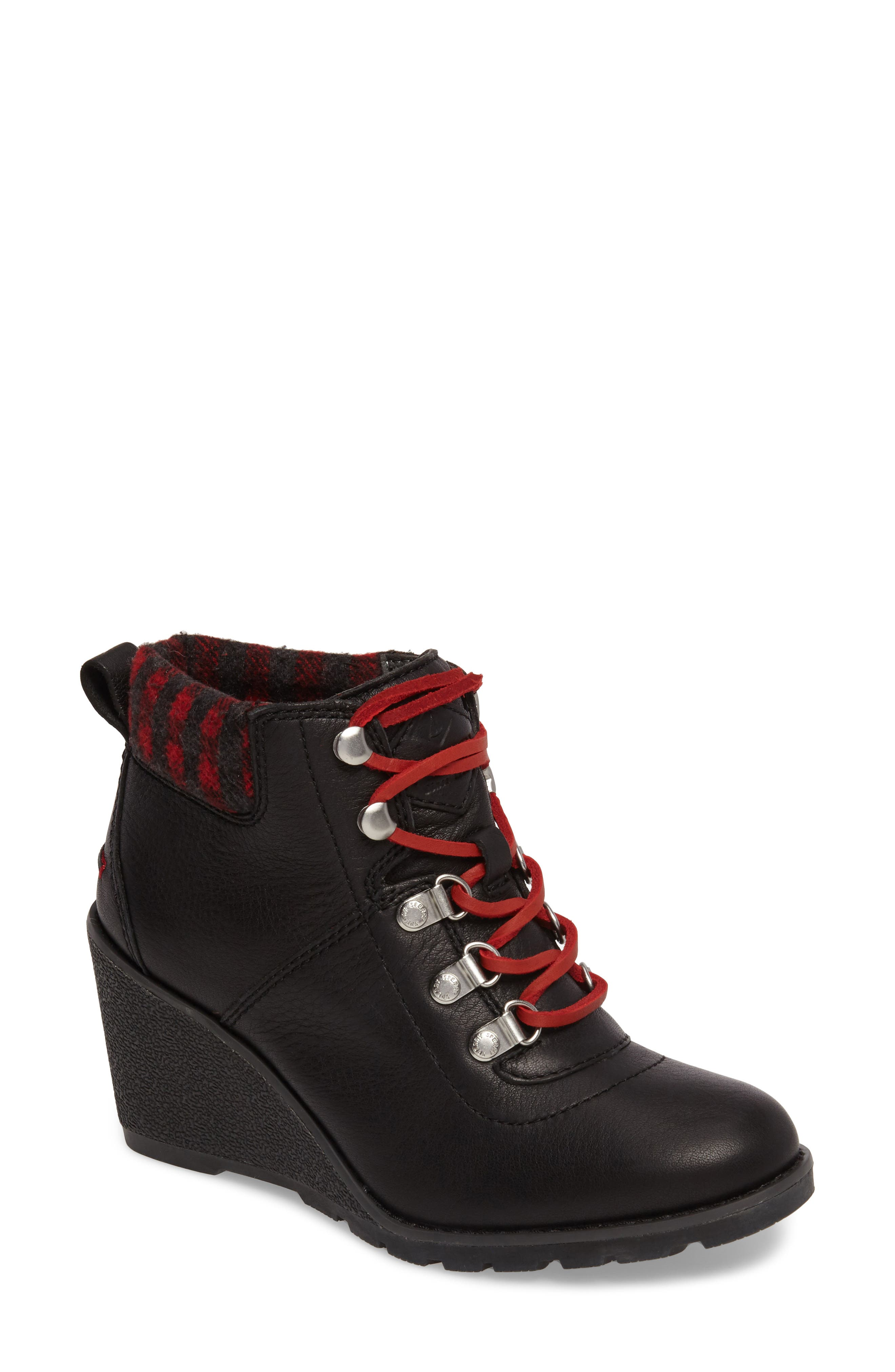 Top-Sider<sup>®</sup> Celeste Bliss Wedge Boot,                             Main thumbnail 1, color,                             Black Leather