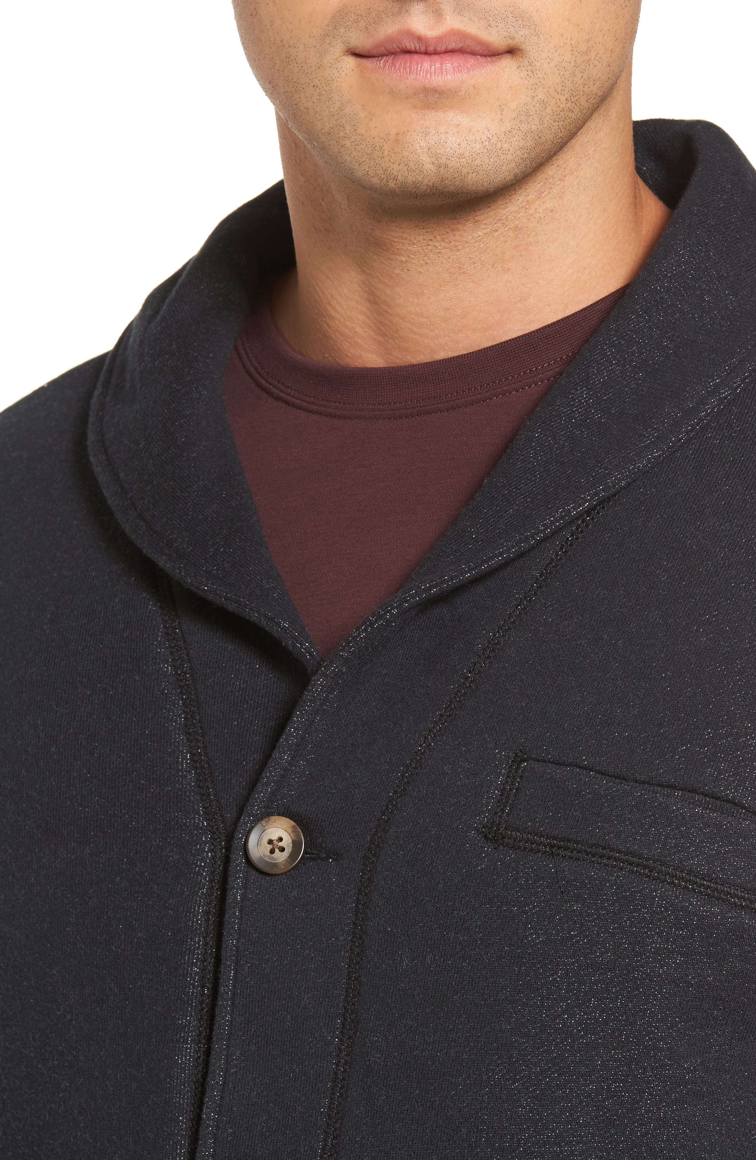 Faux Shearling Lined Shawl Collar Cardigan,                             Alternate thumbnail 4, color,                             Black