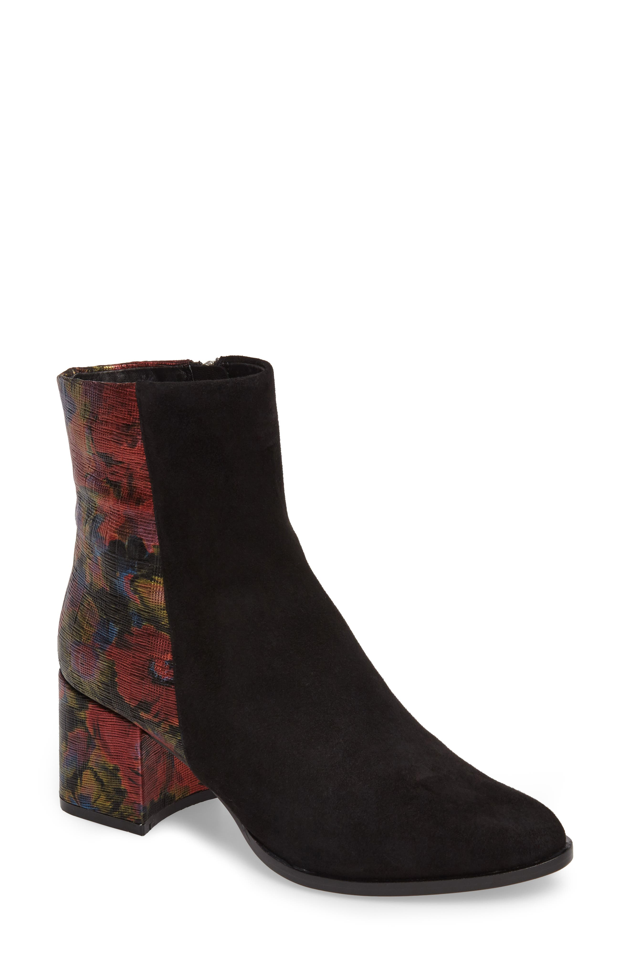 Brady Embellished Boot,                             Main thumbnail 1, color,                             Black/ Red Suede