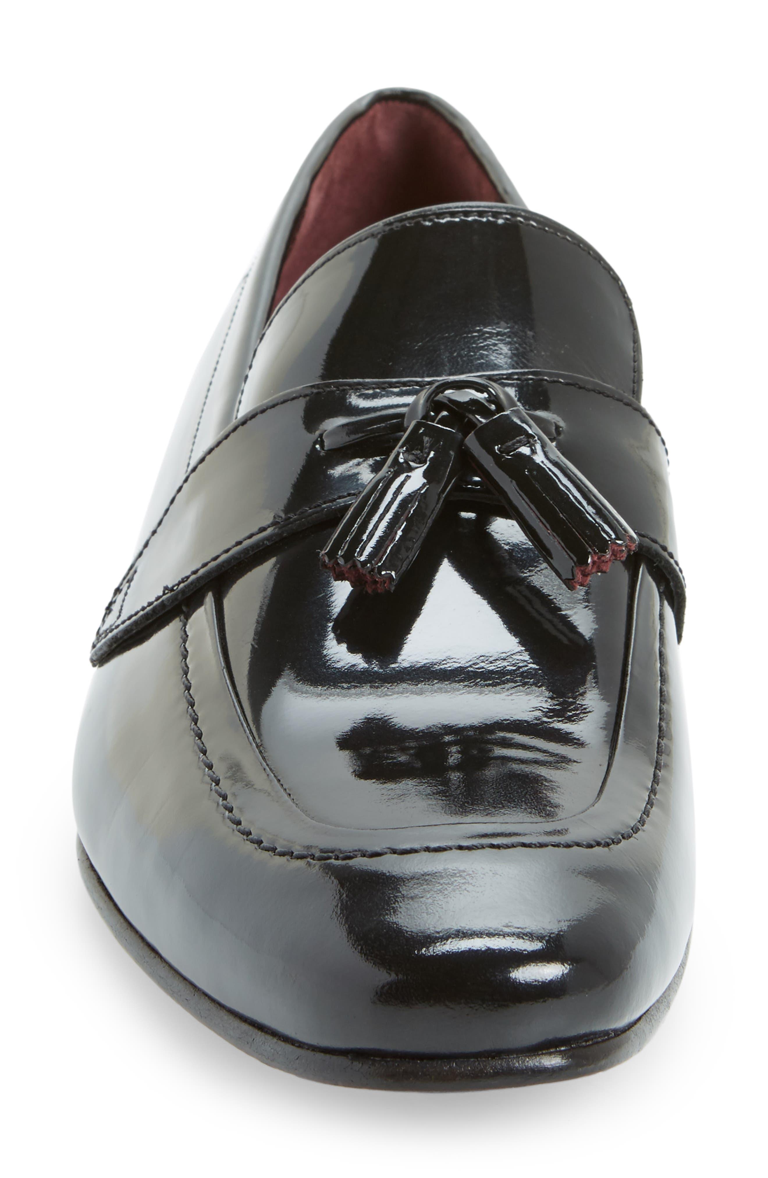 Grafit Tassel Loafer,                             Alternate thumbnail 5, color,                             Black Patent Leather