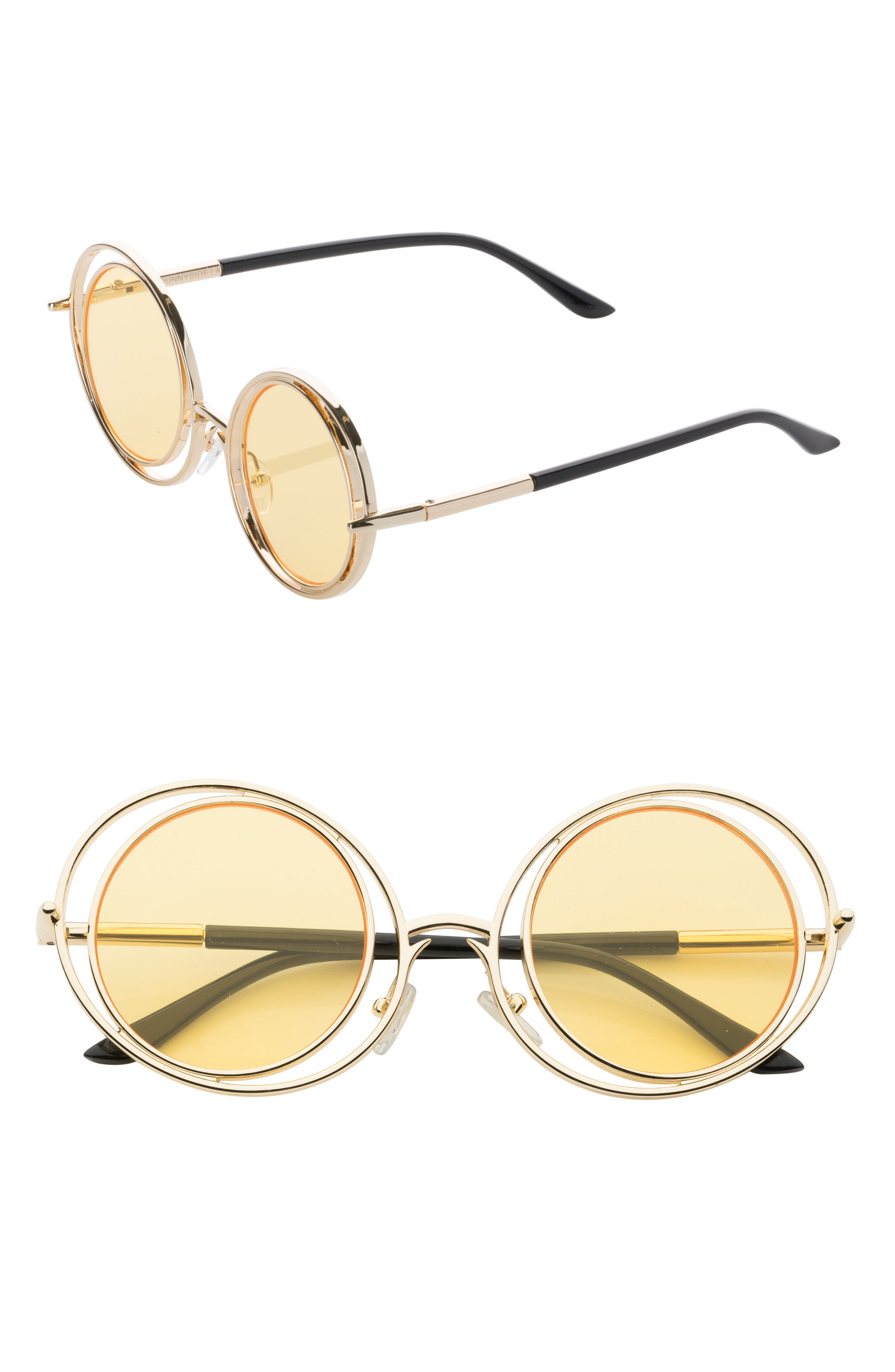 55mm Round Sunglasses,                             Main thumbnail 1, color,                             Gold/ Yellow