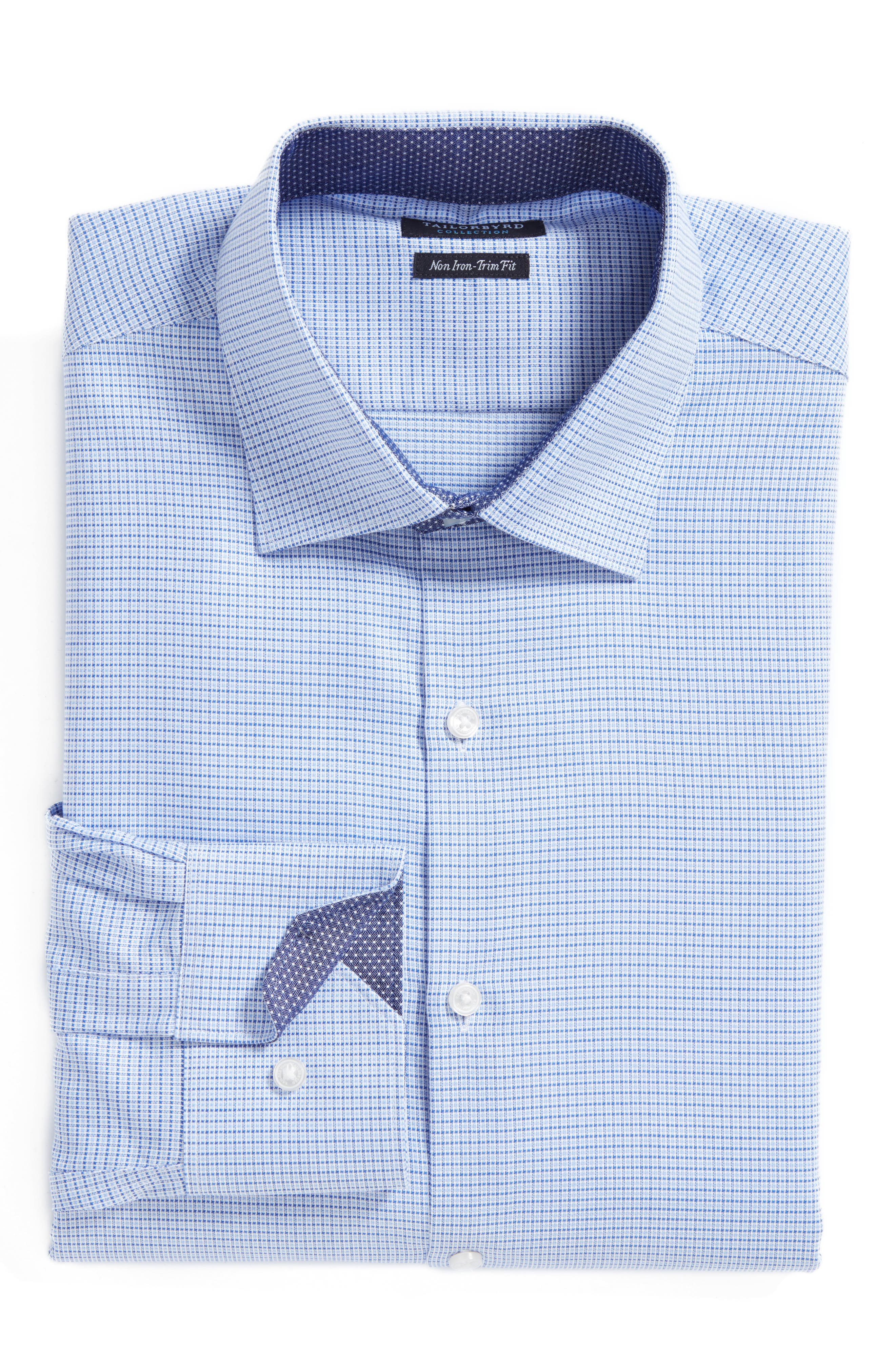Destrehan Trim Fit Non-Iron Check Dress Shirt,                         Main,                         color, Blue