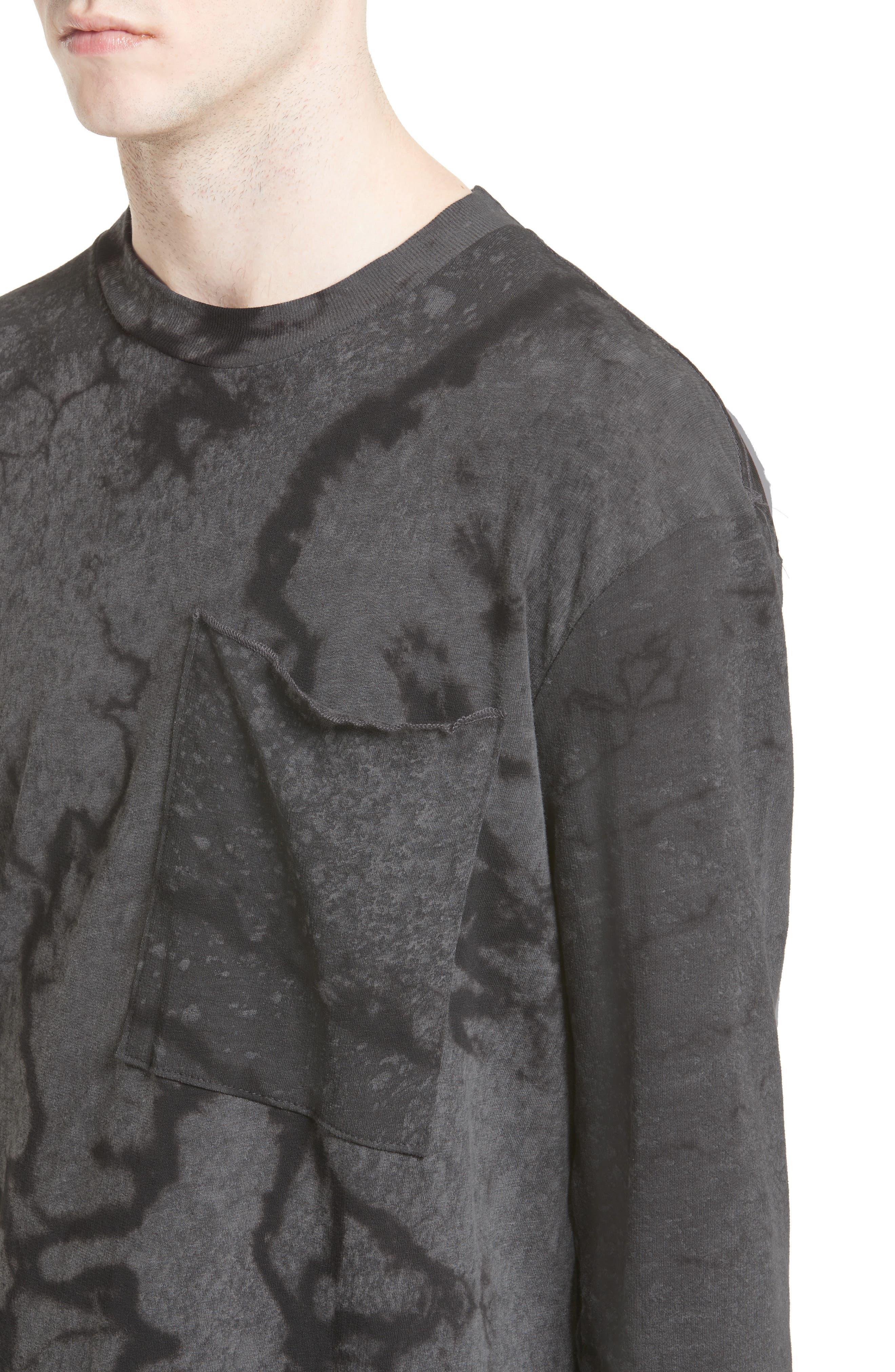 Keld Tie Dye Print T-Shirt,                             Alternate thumbnail 4, color,                             Black Rain