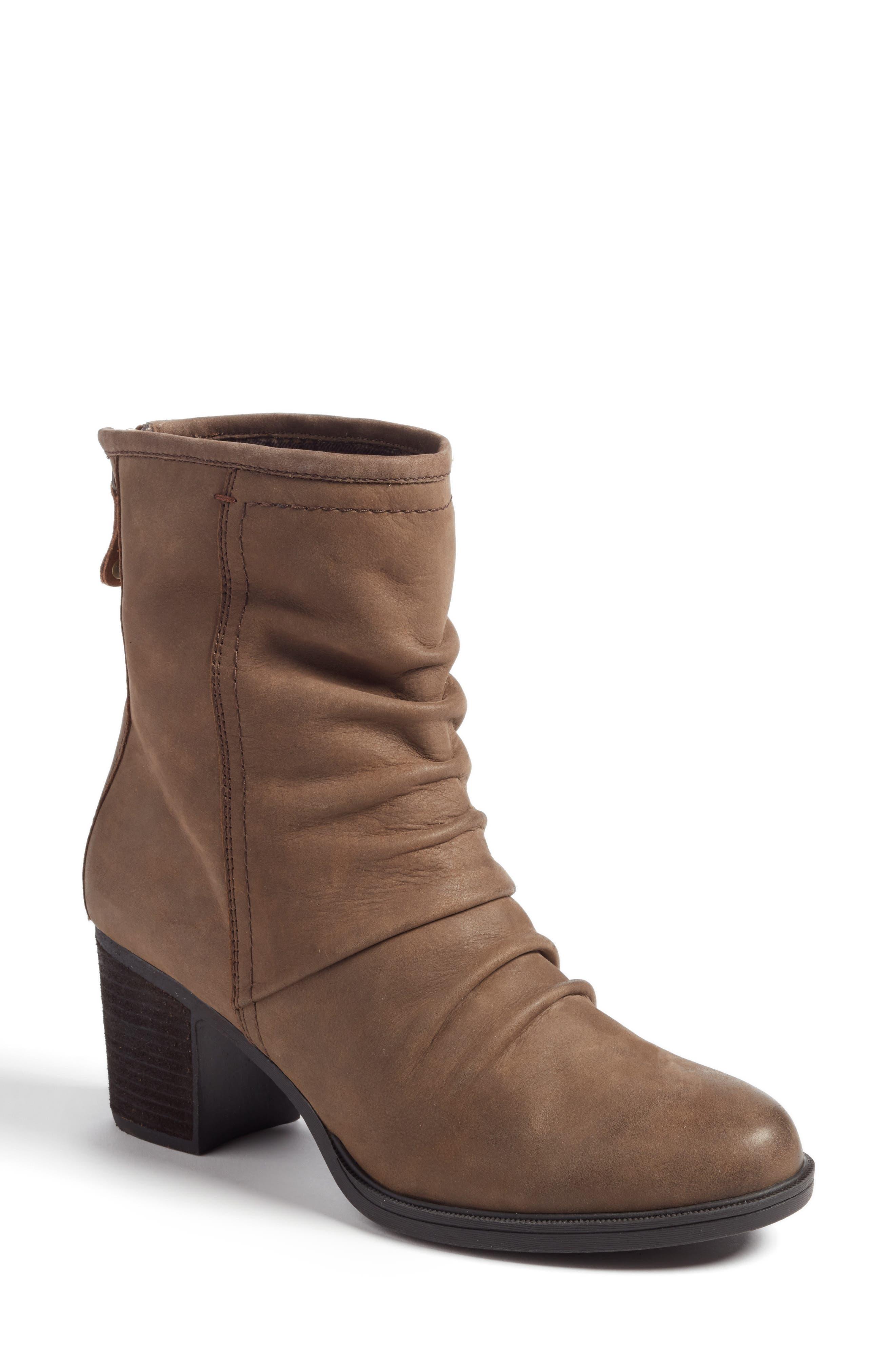 Natashya Slouchy Block Heel Bootie,                         Main,                         color, Stone Nubuck