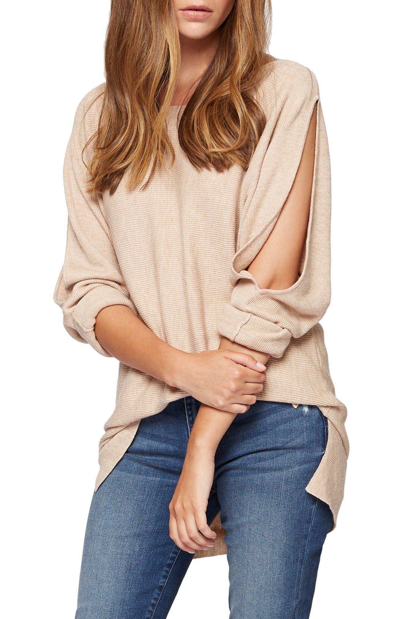 Sancutary Gillian Bare Shoulder Cutout Tunic Sweater,                             Main thumbnail 1, color,                             Heather Praline