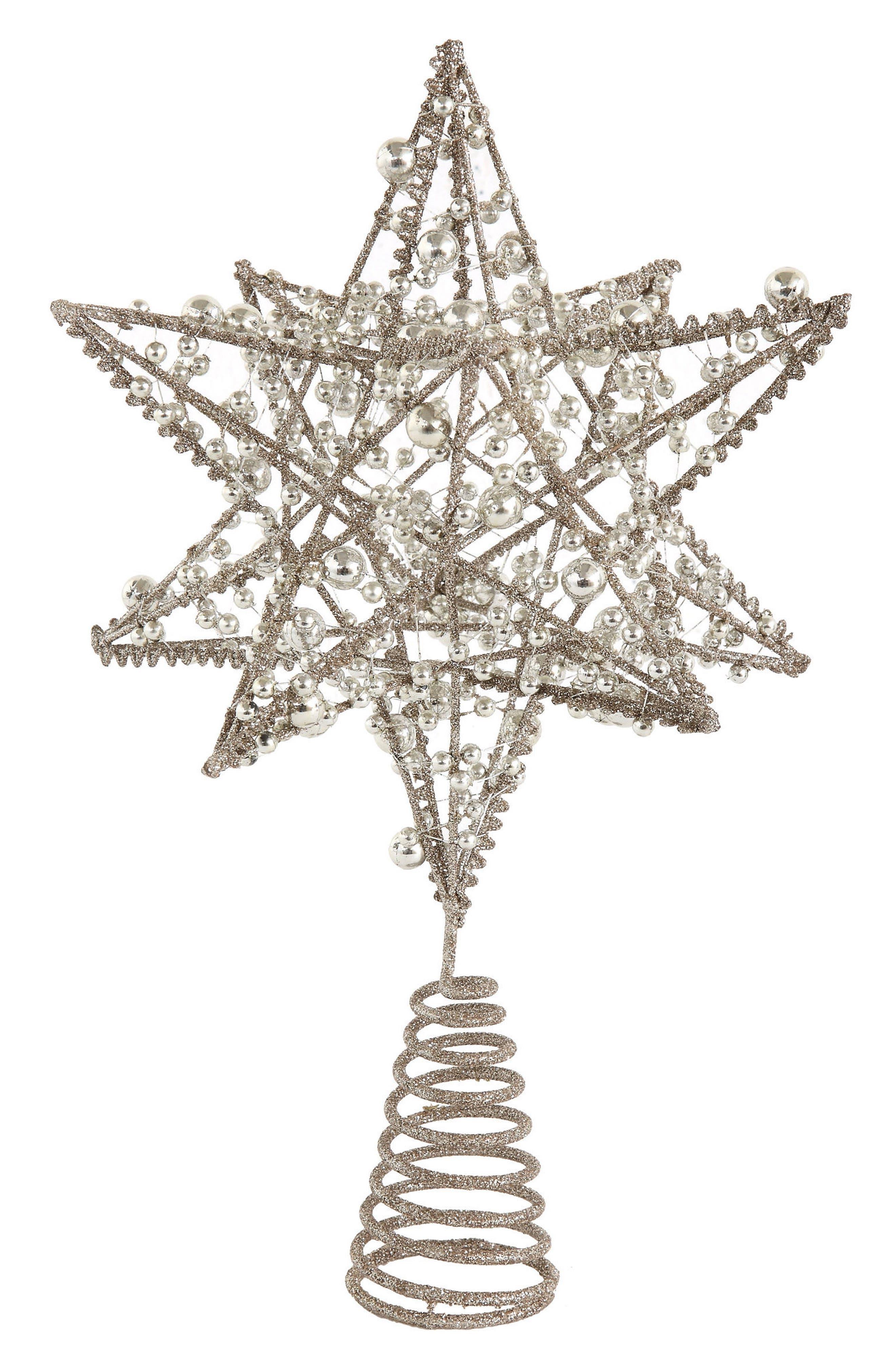 Wire Star Tree Topper,                         Main,                         color, Silver