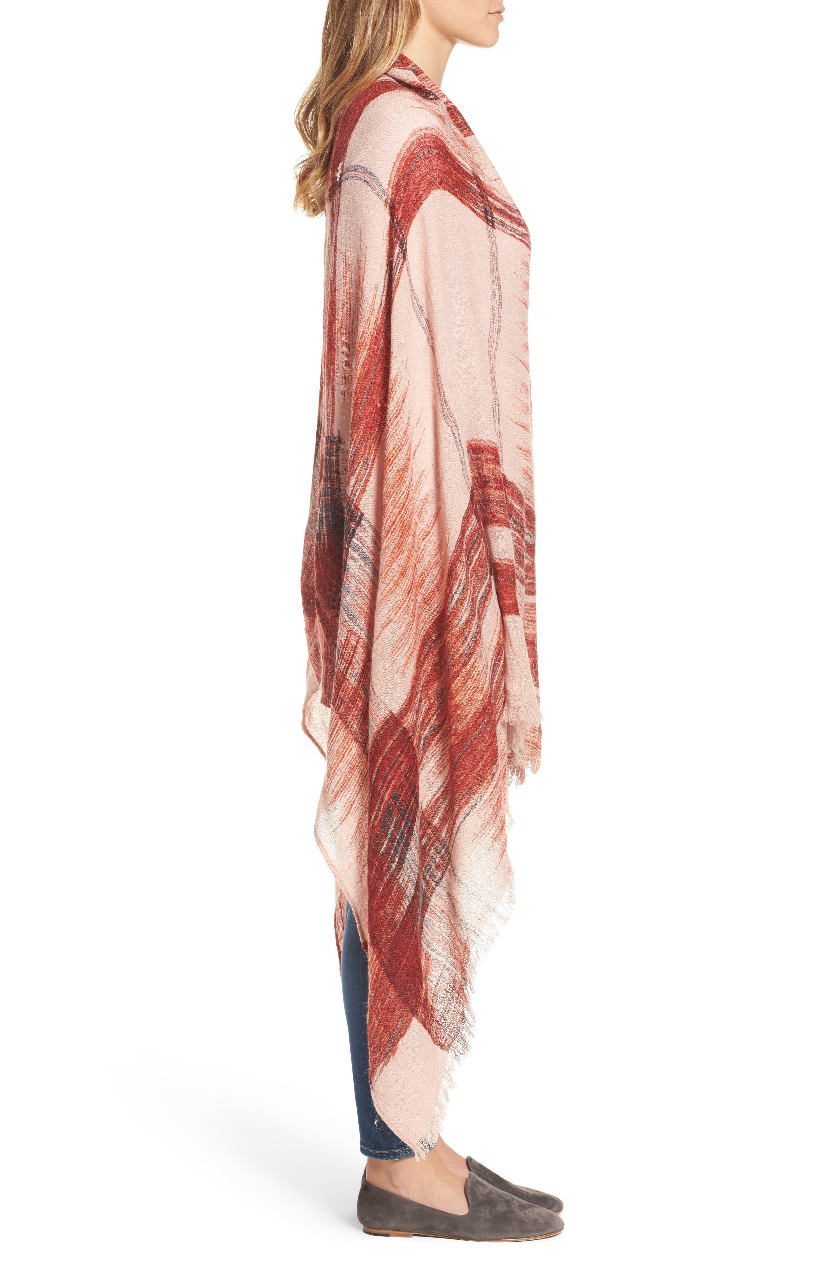 Ikat Plaid Dip Dye Wrap,                             Alternate thumbnail 3, color,                             Red Combo