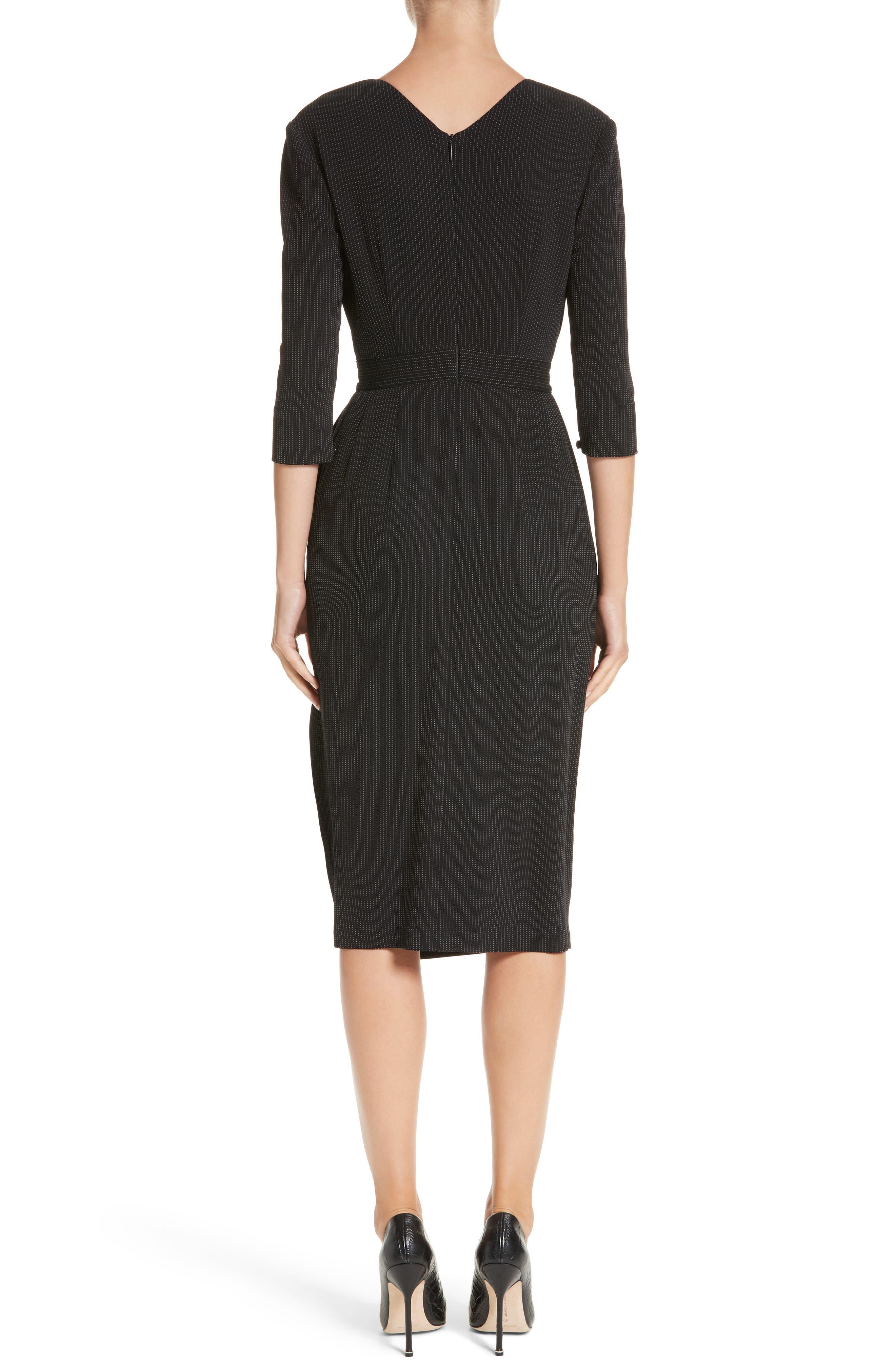 Pinstripe Jersey Sheath Dress,                             Alternate thumbnail 2, color,                             Black / Chalk