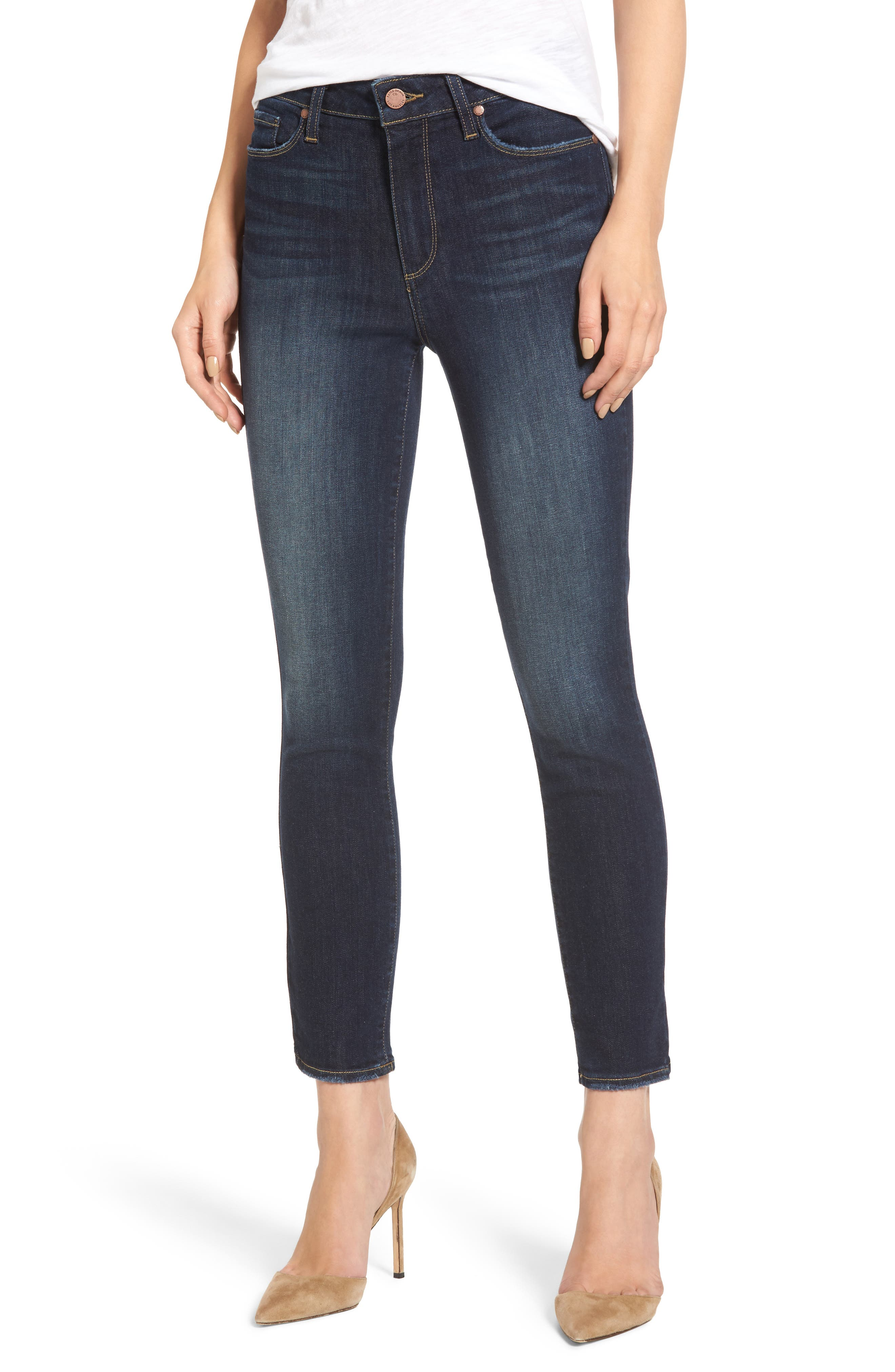 PAIGE Hoxton Crop High Waist Skinny Jeans (Henley Distressed)