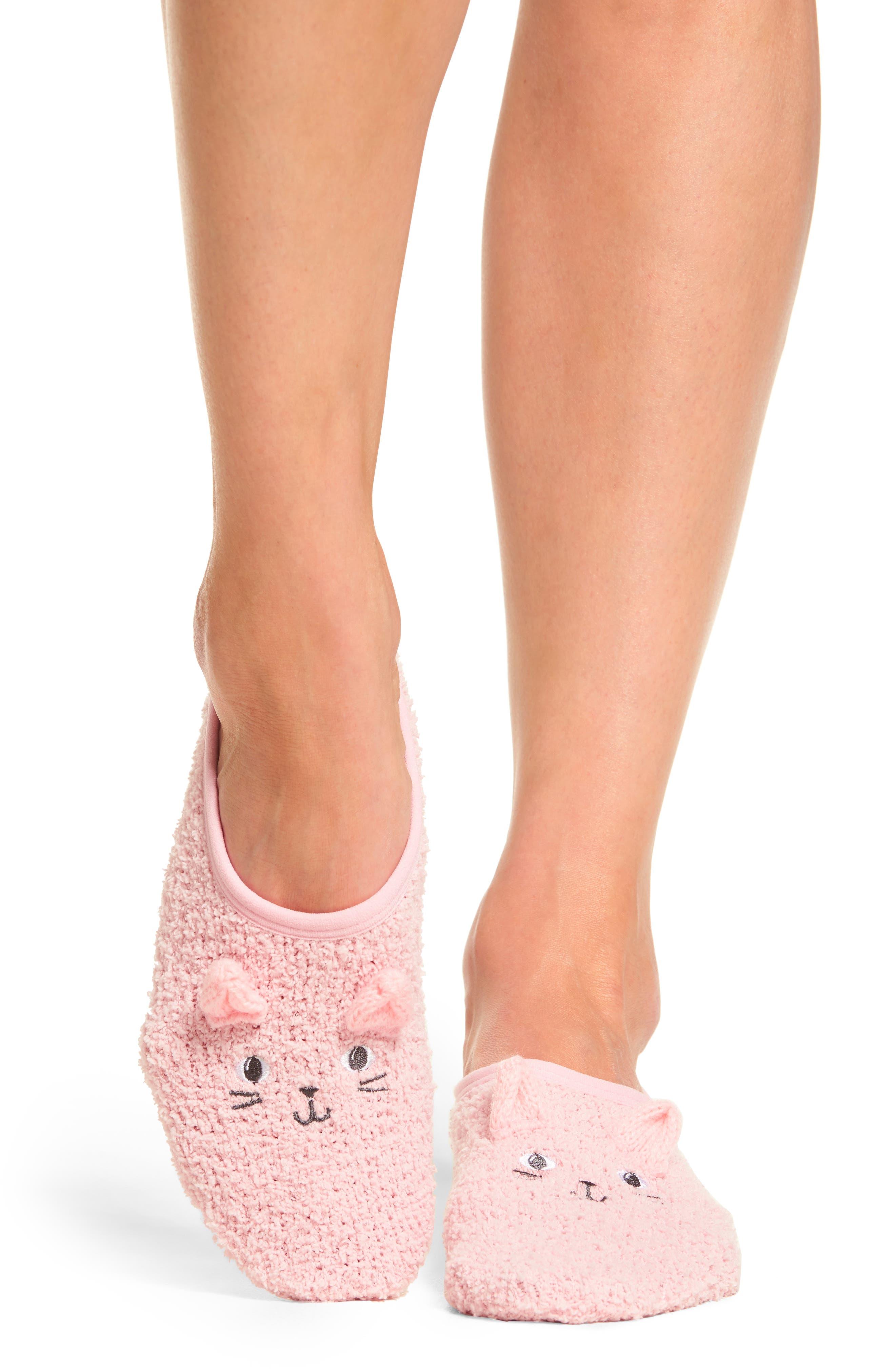 Plush Slipper Socks,                         Main,                         color, Pink Cat