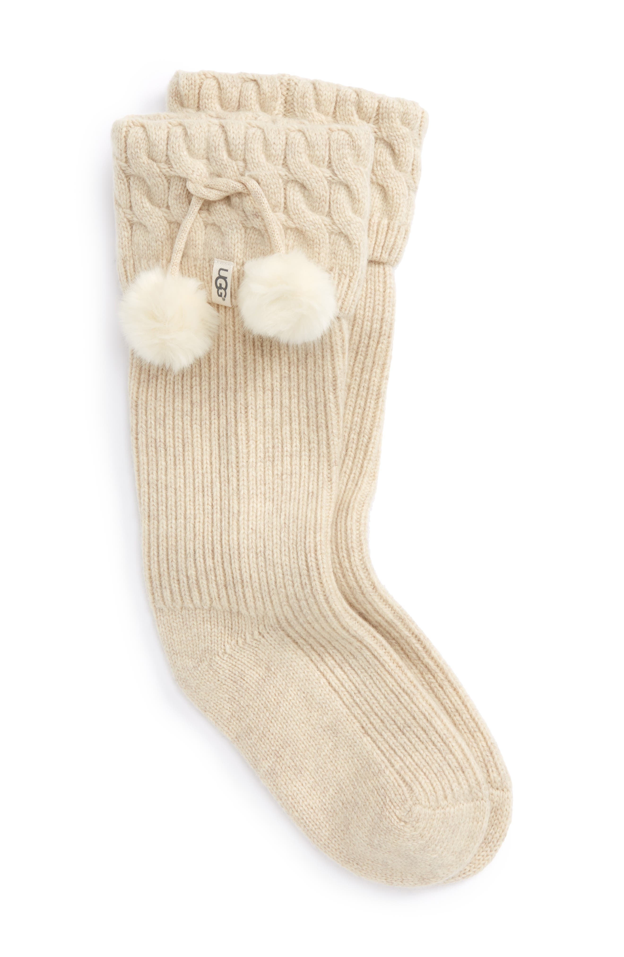 UGG UGGpure<sup>™</sup> Pompom Tall Rain Boot Sock,                             Main thumbnail 1, color,                             Cream Heather Wool
