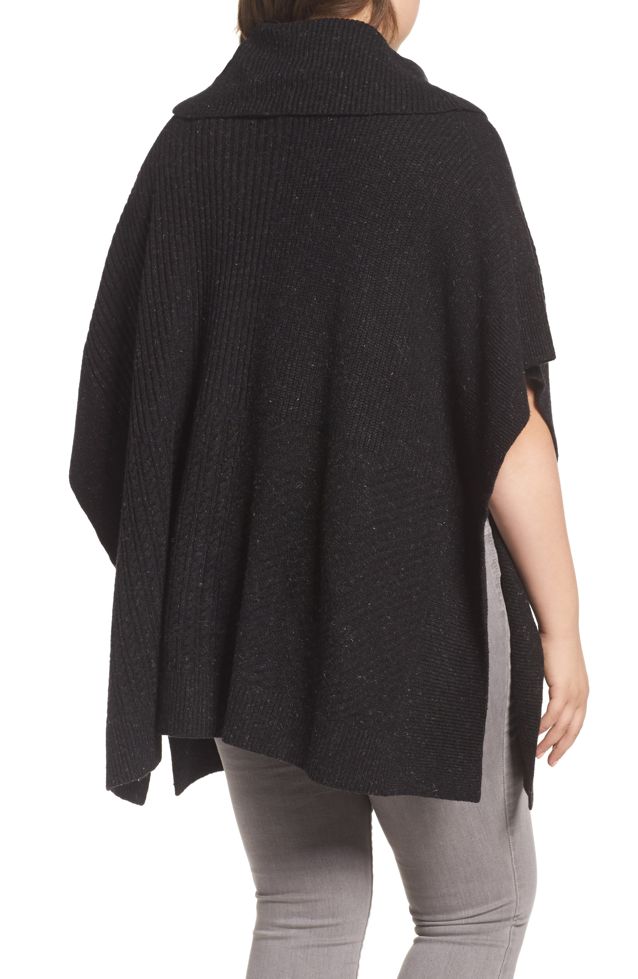 Mixed Stitch Poncho Sweater,                             Alternate thumbnail 2, color,                             Black